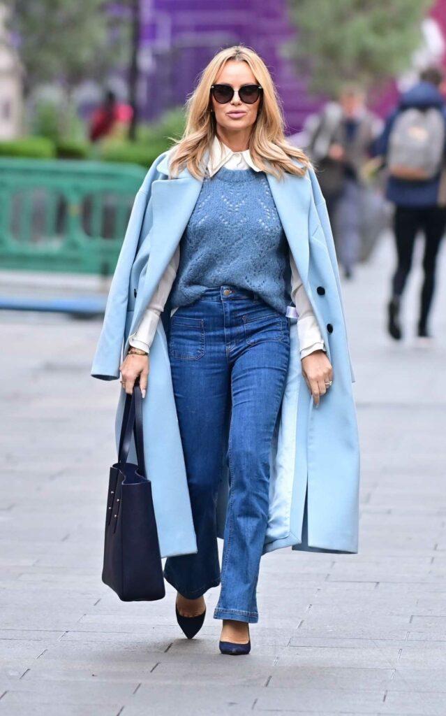 Amanda Holden in a Baby Blue Coat
