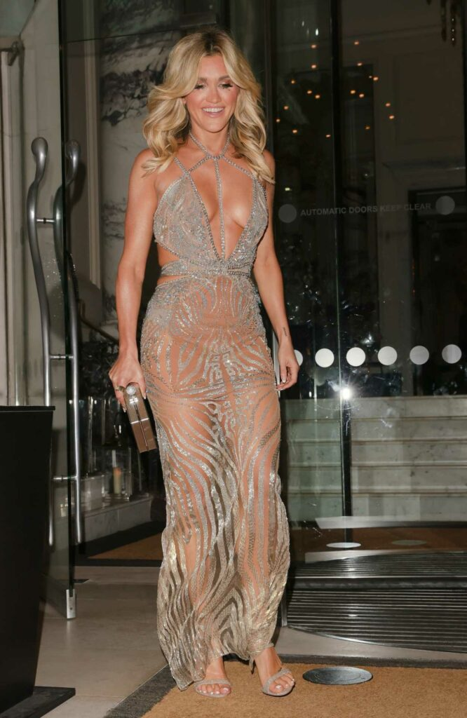 Ashley Roberts in a Silver See-Through Dress