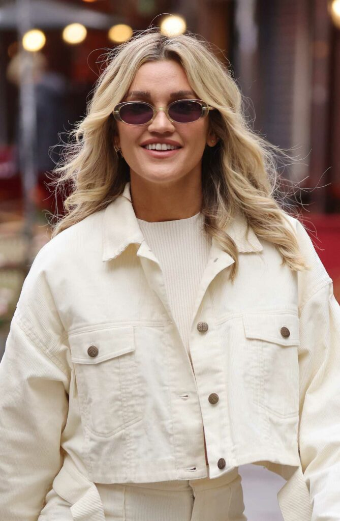 Ashley Roberts in a White Pantsuit