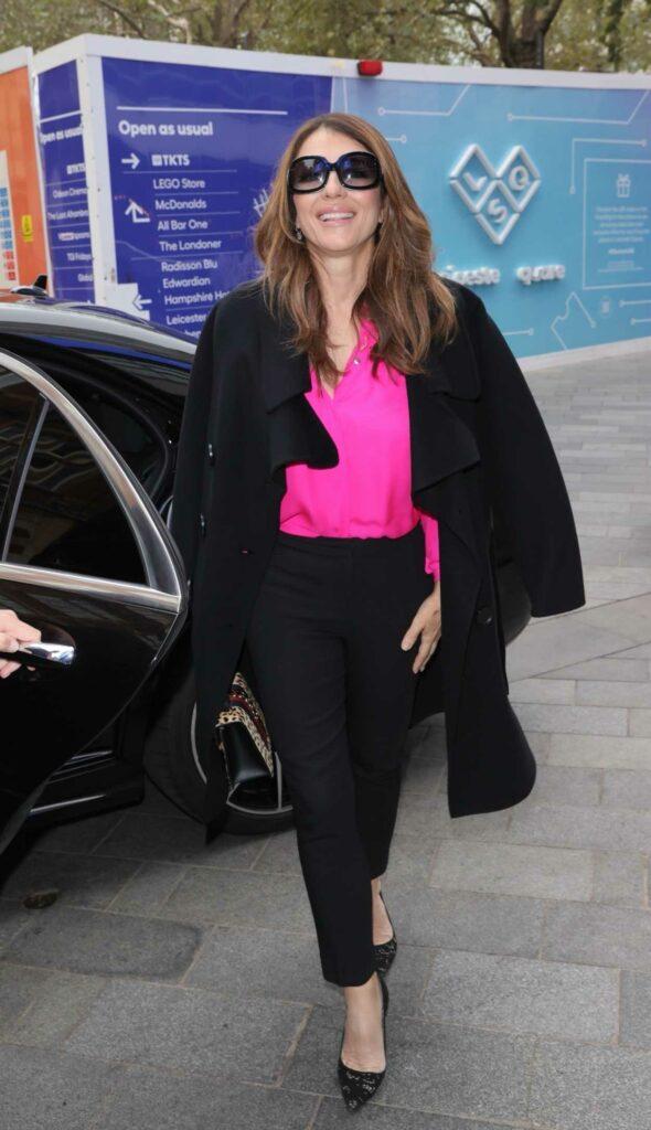Elizabeth Hurley in a Black Coat