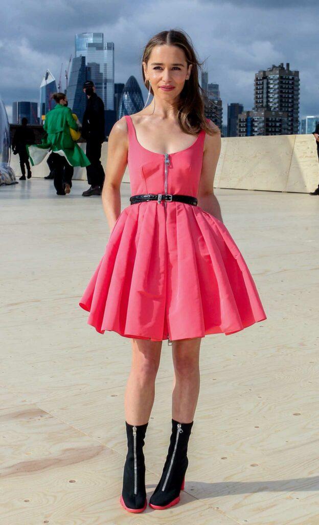 Emilia Clarke in a Pink Dress