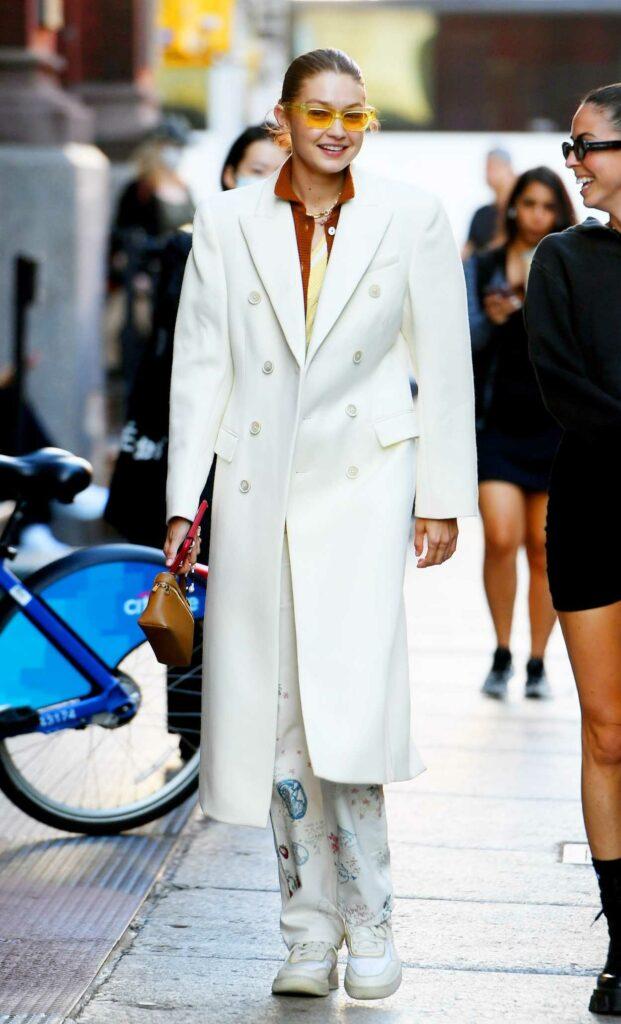 Gigi Hadid in a White Coat