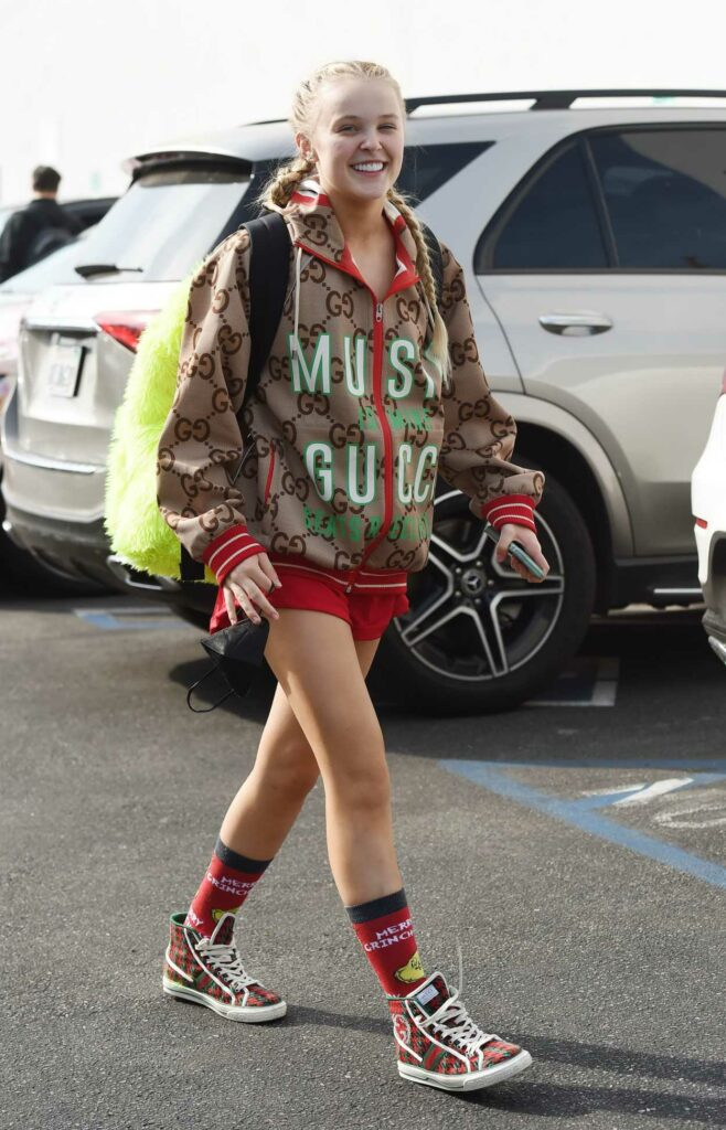 JoJo Siwa in a Red Shorts
