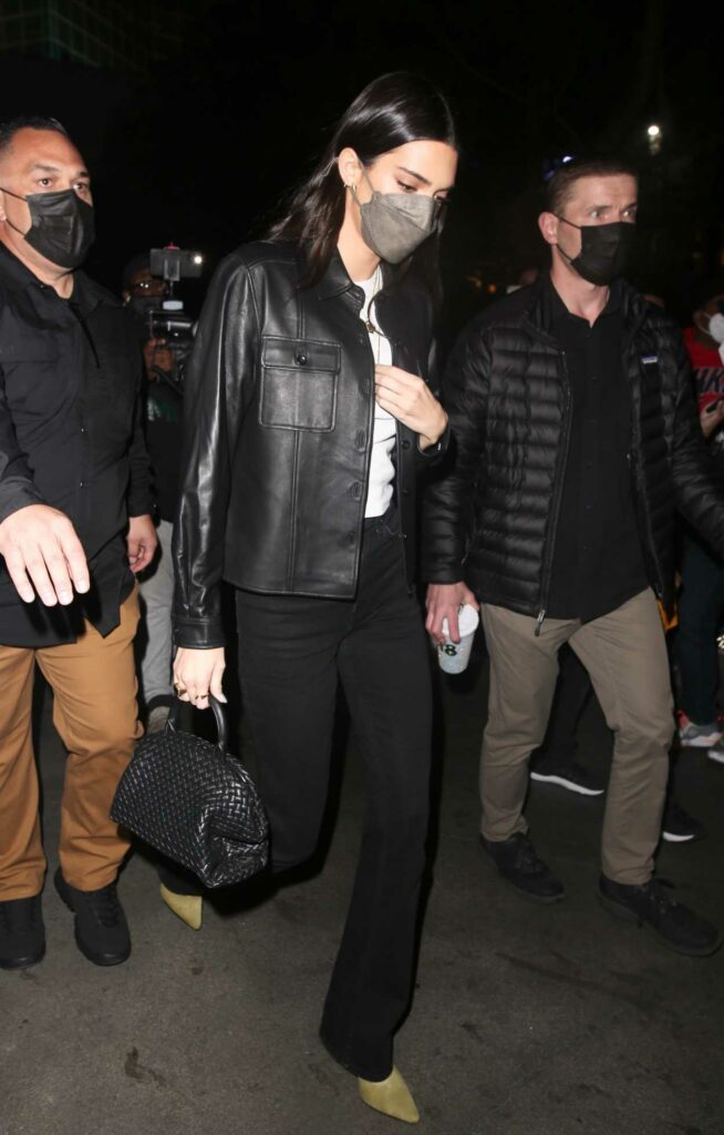 Kendall Jenner in a Black Leather Jacket