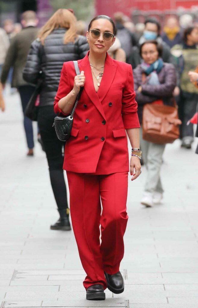 Myleene Klass in a Red Pantsuit