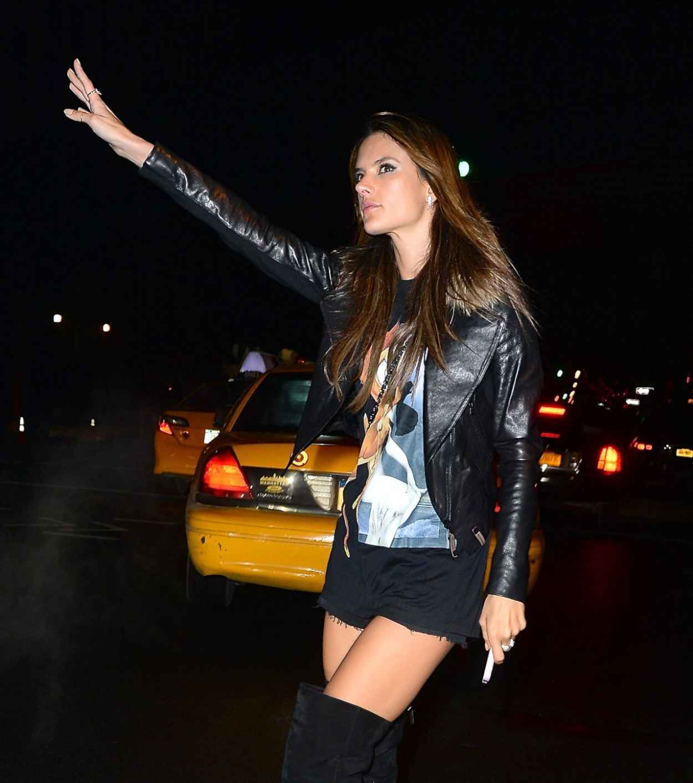 Alessandra Ambrosio - Hailing a Cab in New York City - February 2015-1
