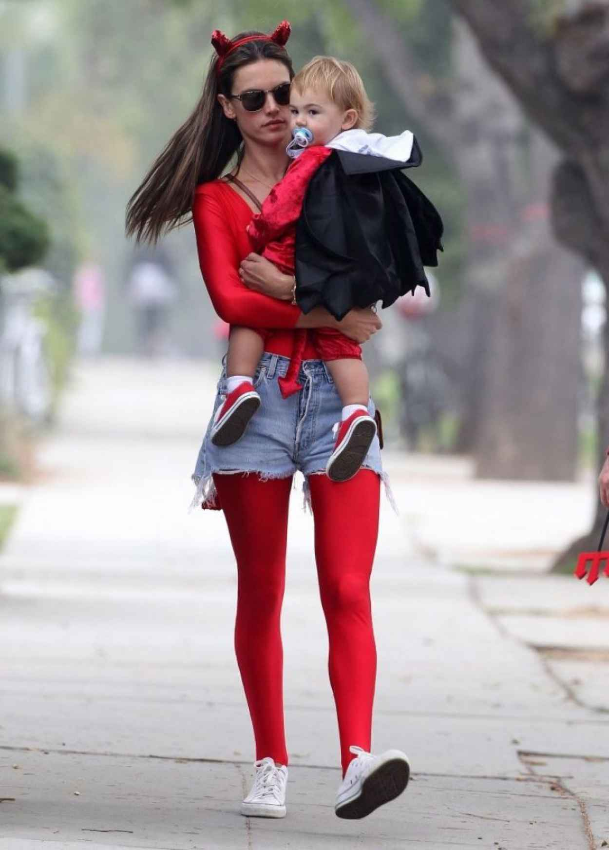 Alessandra Ambrosio in a Red Devil Bodysuit-2