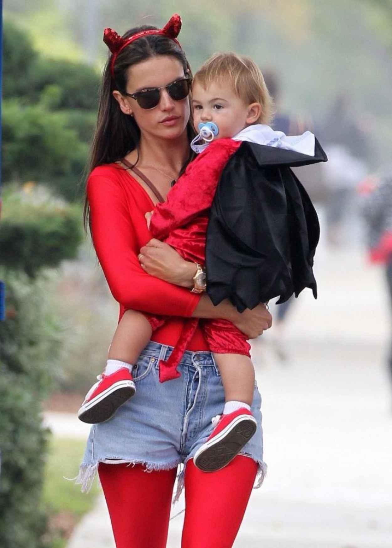 Alessandra Ambrosio in a Red Devil Bodysuit-3