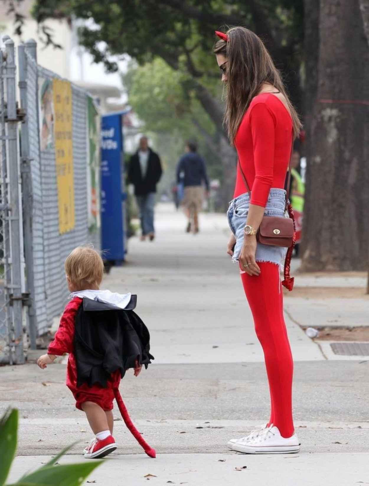 Alessandra Ambrosio in a Red Devil Bodysuit-4