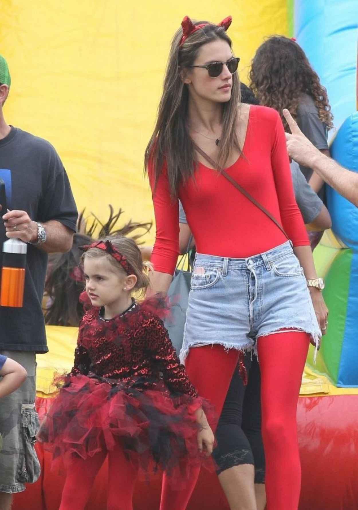 Alessandra Ambrosio in a Red Devil Bodysuit-5