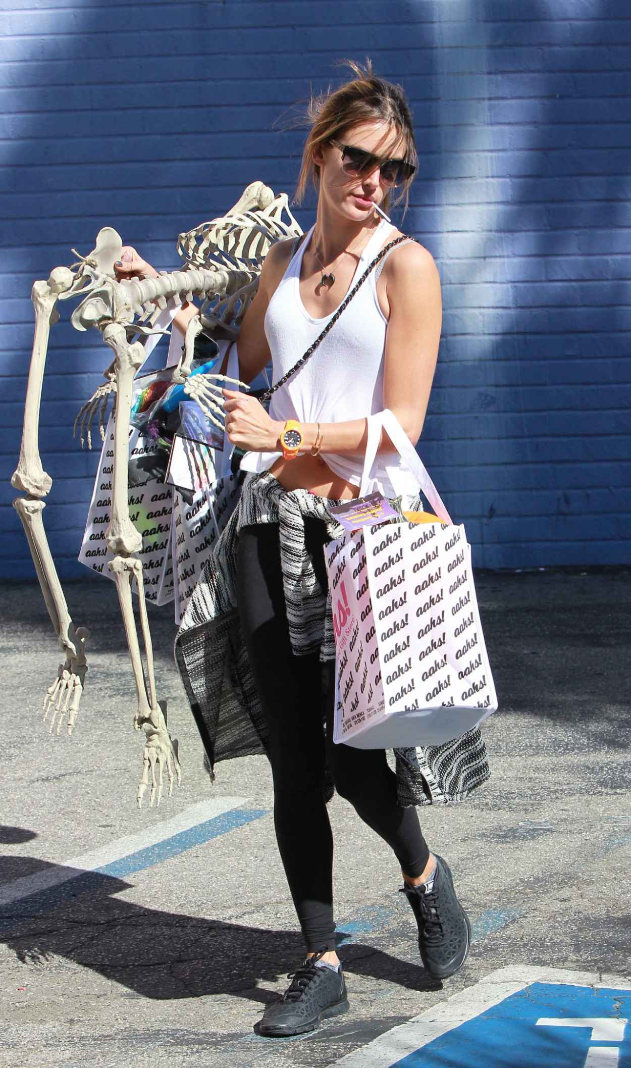 Alessandra Ambrosio Street Style - With a Full Skeleton-1