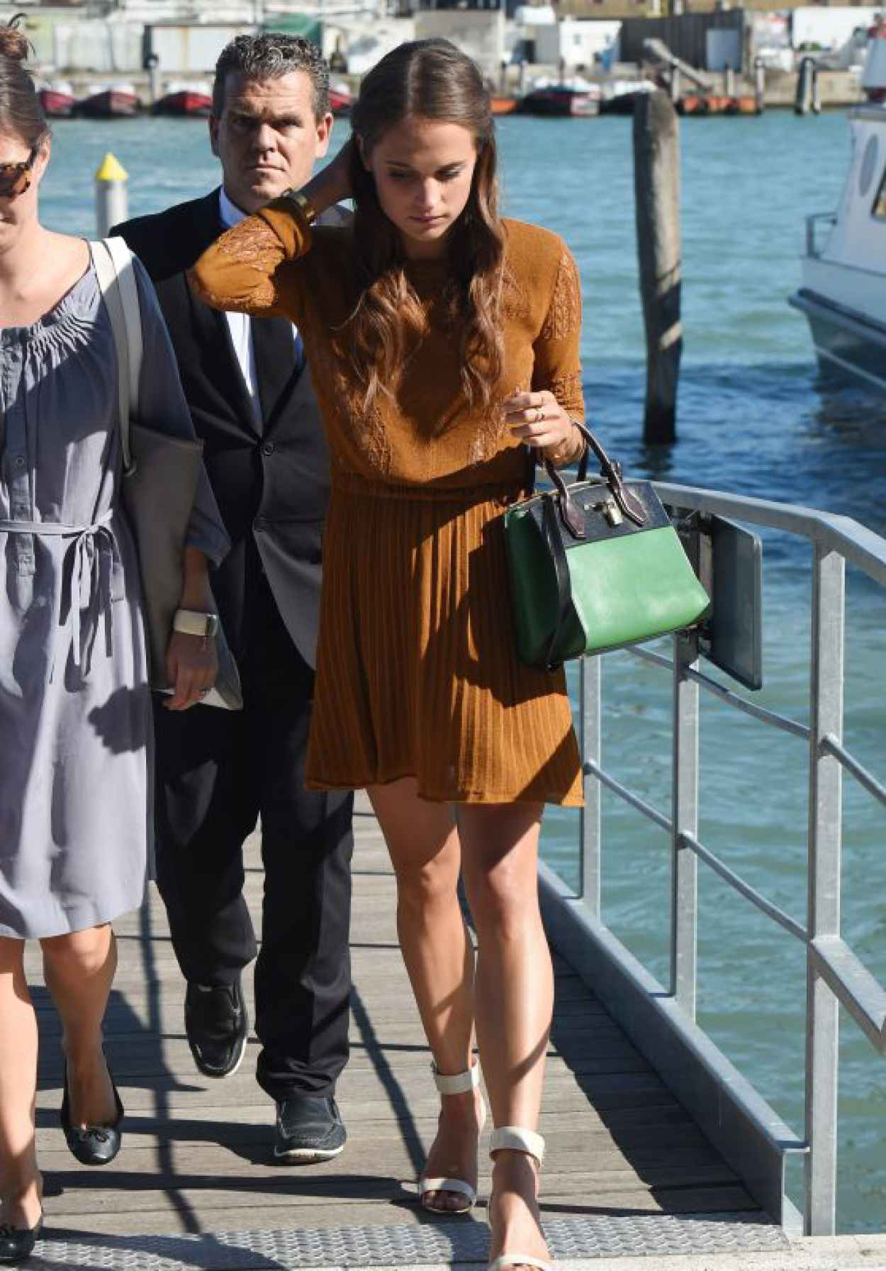 Alicia Vikander Deboarding the Yacht in Venice, Italy, September 2015-1