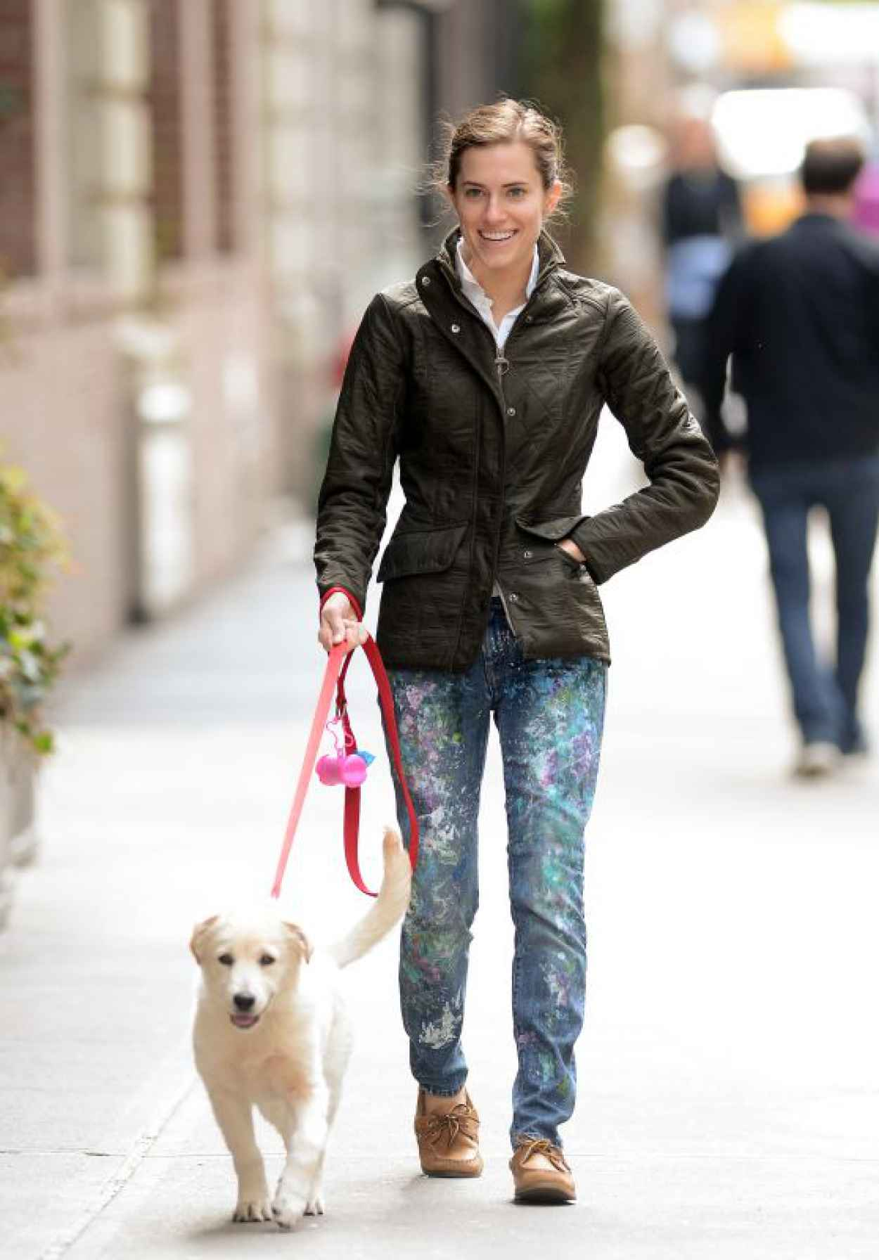 Allison Williams - Walking Her Dog in New York City, April 2015-1