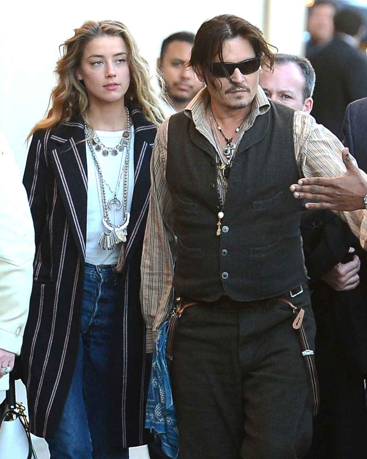 Amber Heard and Johnny Dep - Arriving to Appear on Jimmy Kimmel, Jan. 2015-1