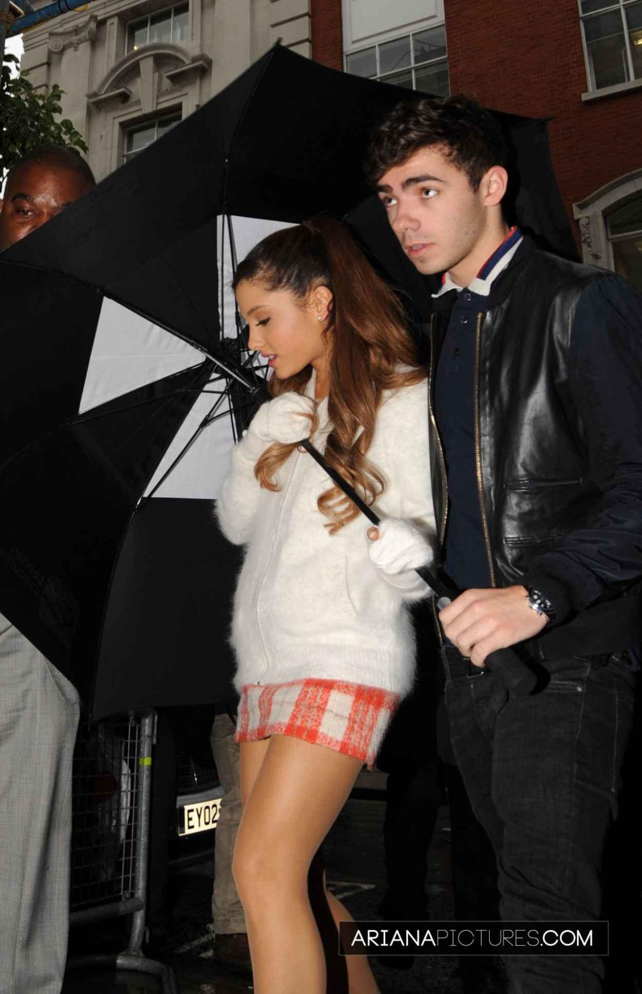 Ariana Grande - Leggy, Arriving at BBC Radio in London-1