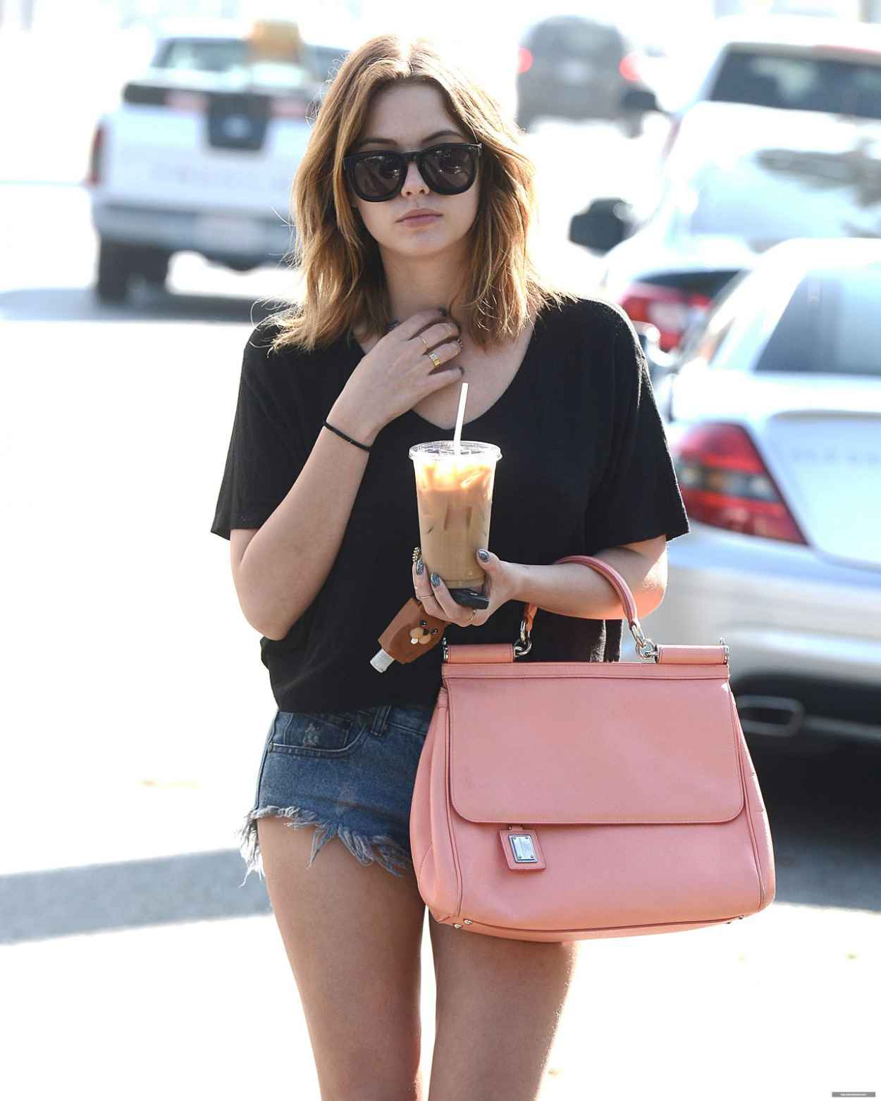 Ashley Benson Shows Off Her Legs in Short Denim Shorts - Out For a Cofee in Los Angeles - January 2015-1