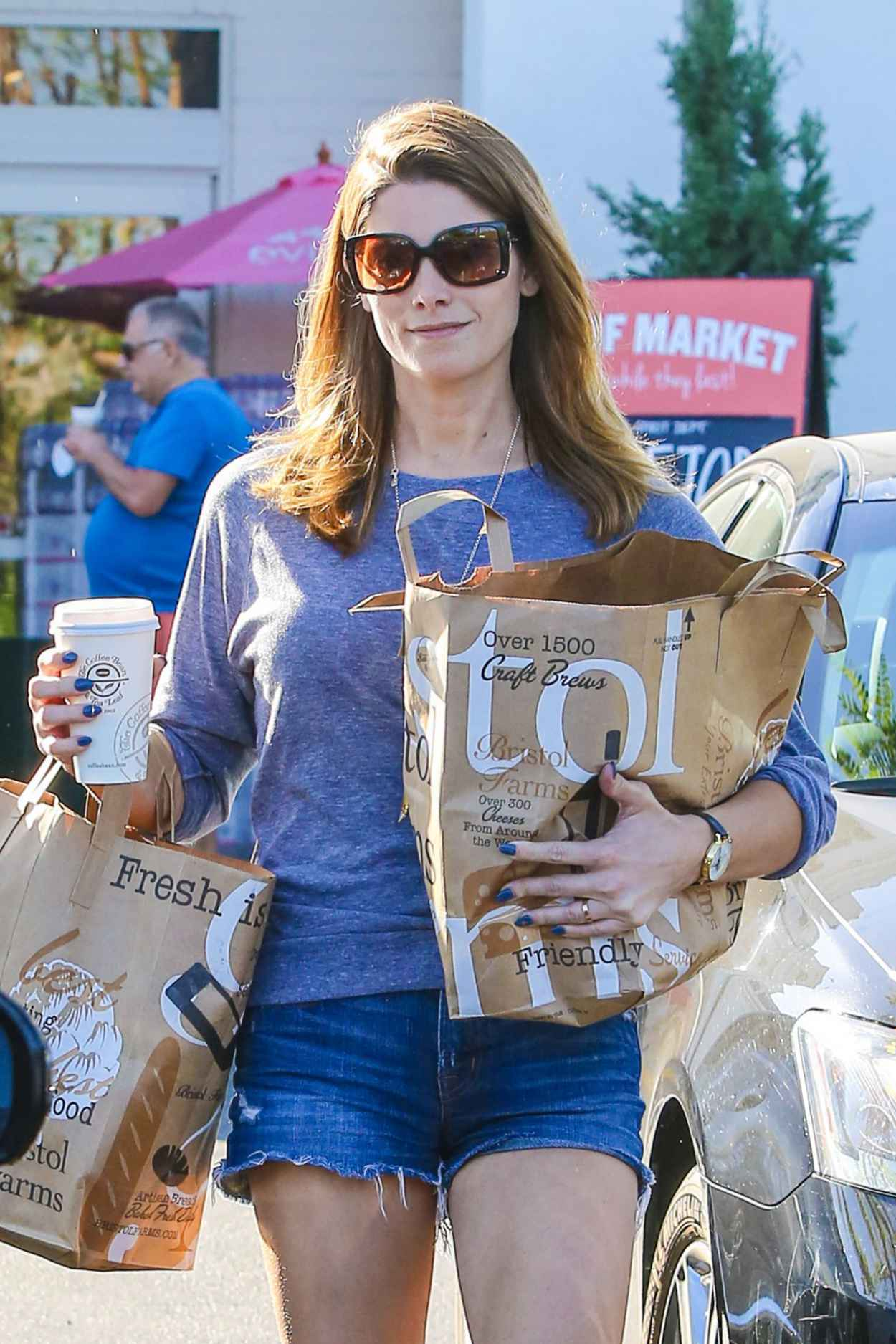 Ashley Greene in Jeans Shorts - Shopping at Bristol Farms, October 2015-4
