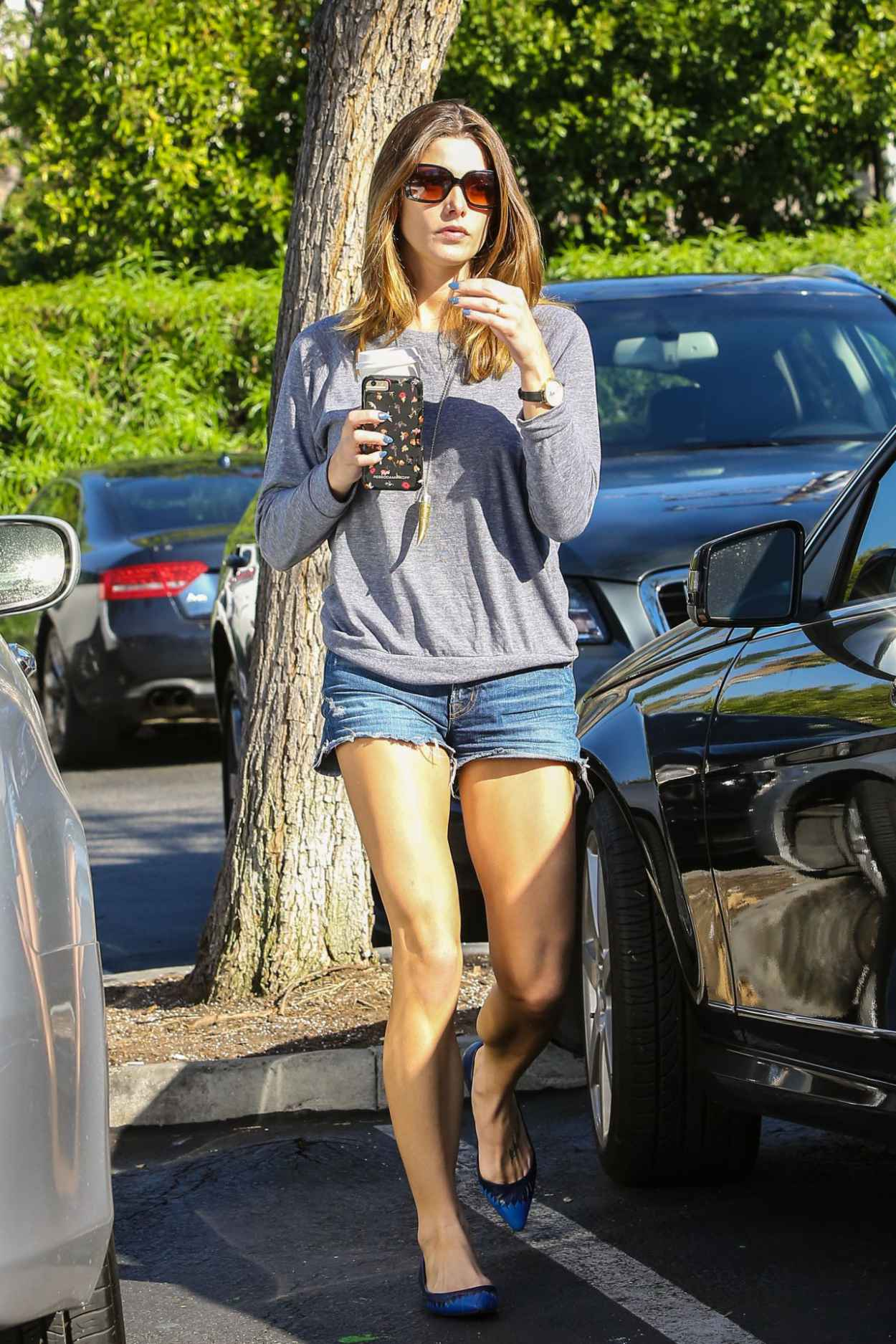 Ashley Greene in Jeans Shorts - Shopping at Bristol Farms, October 2015-5