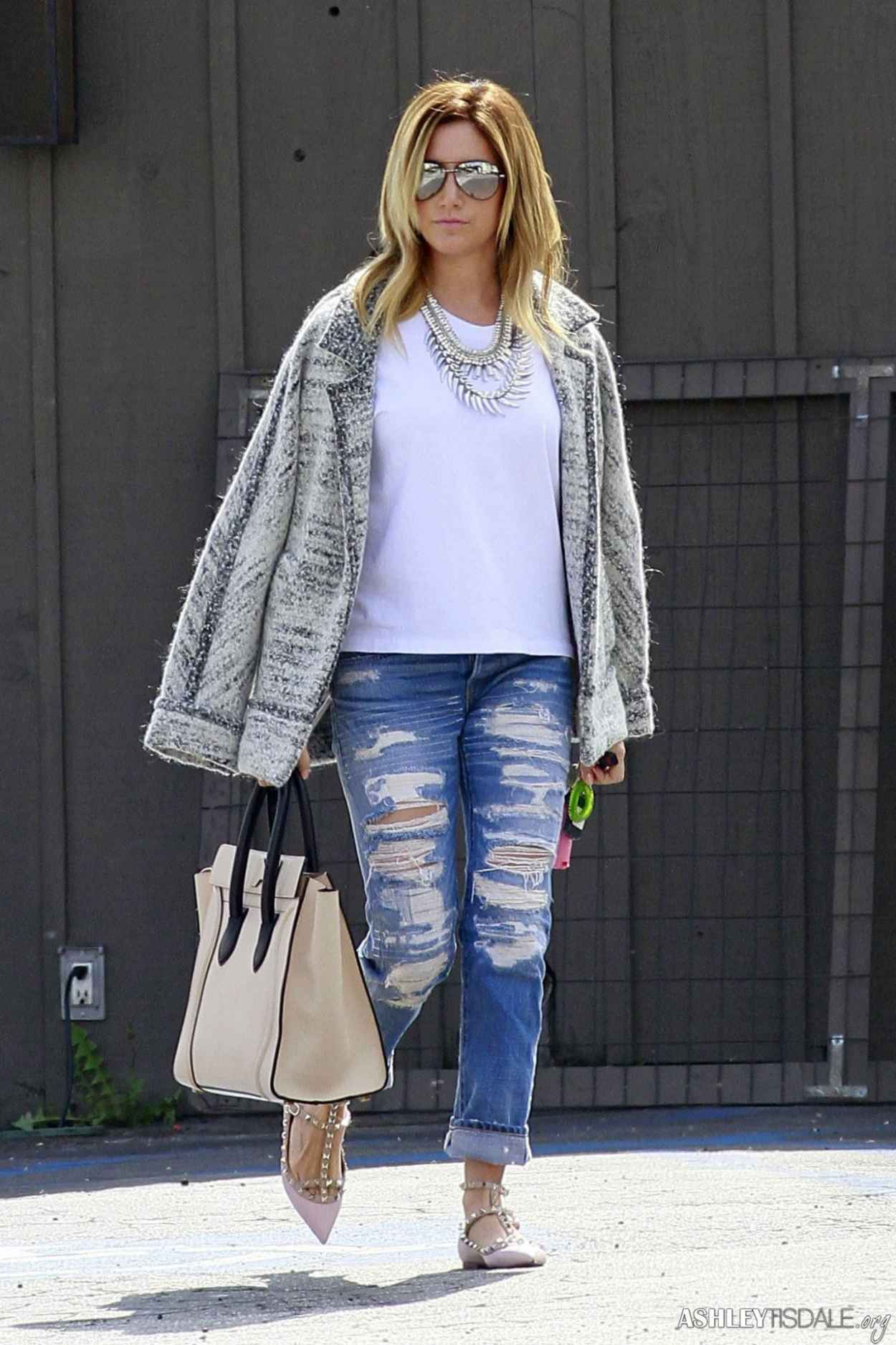 Ashley Tisdale in Ripped Jeans - Leaving Mos Restaurant in Toluca Lake-1