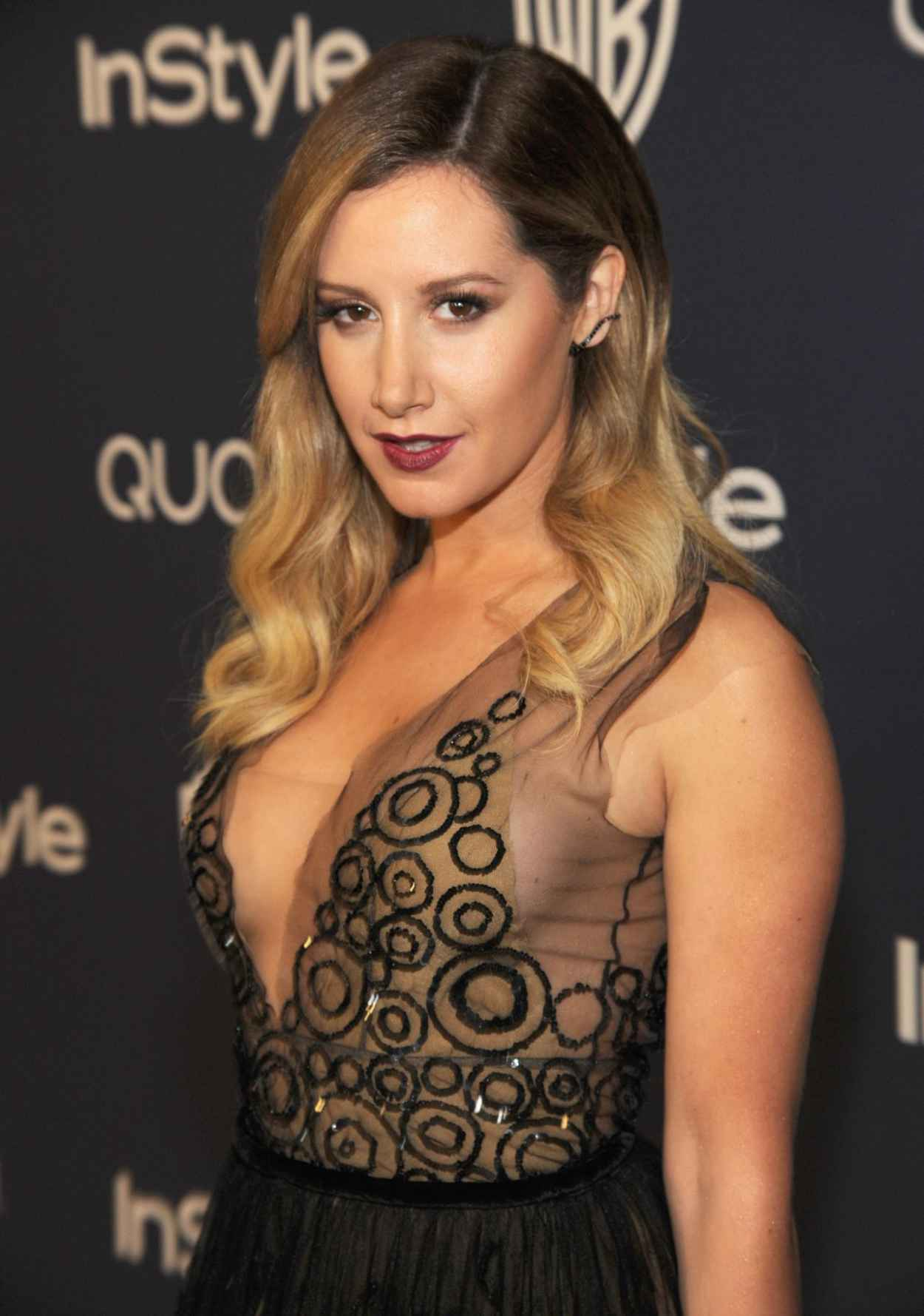 Ashley Tisdale Wears Yanina at InStyle and Warner Bros. 2015 Golden Globes After Party-1