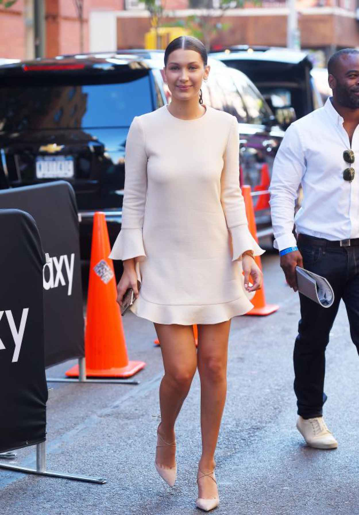 Bella Hadid - Leggy and Breezy in a Minidress in NYC, August 2015-1