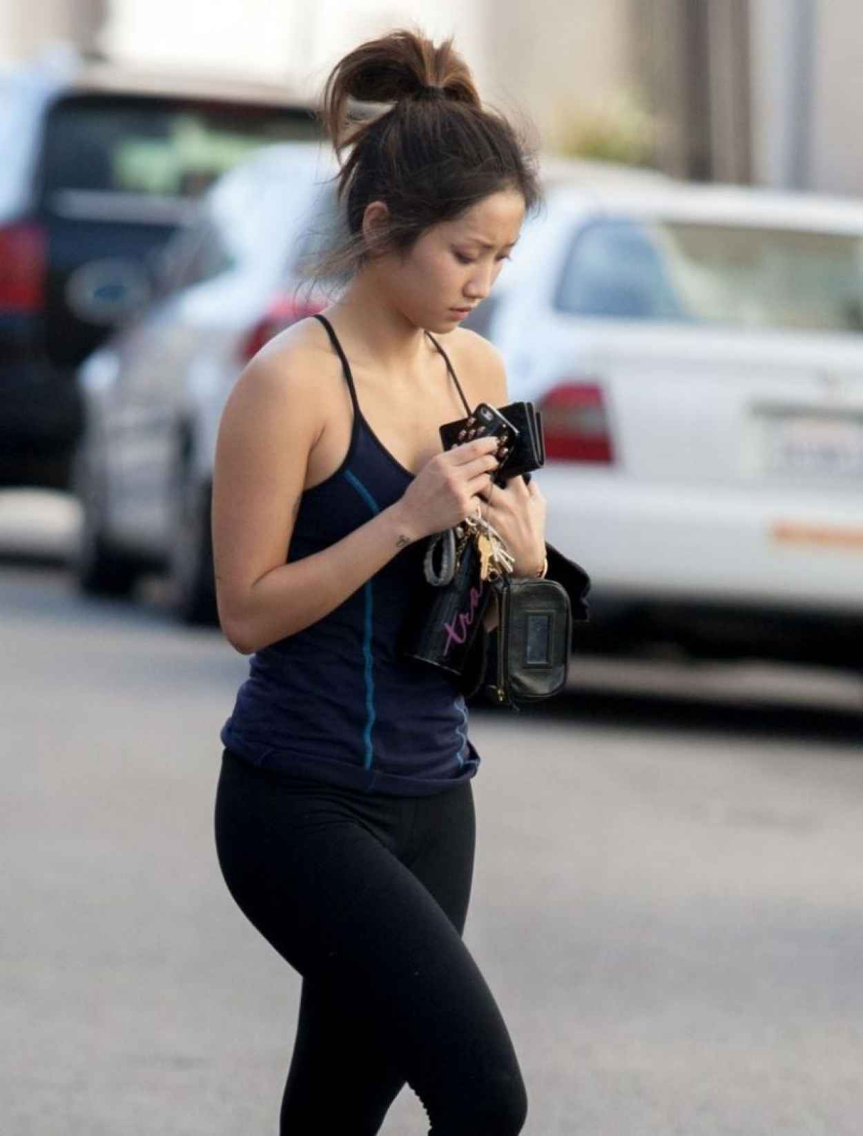 Brenda Song Gym Style - in Leggings and a Tank Top, January 2015-1