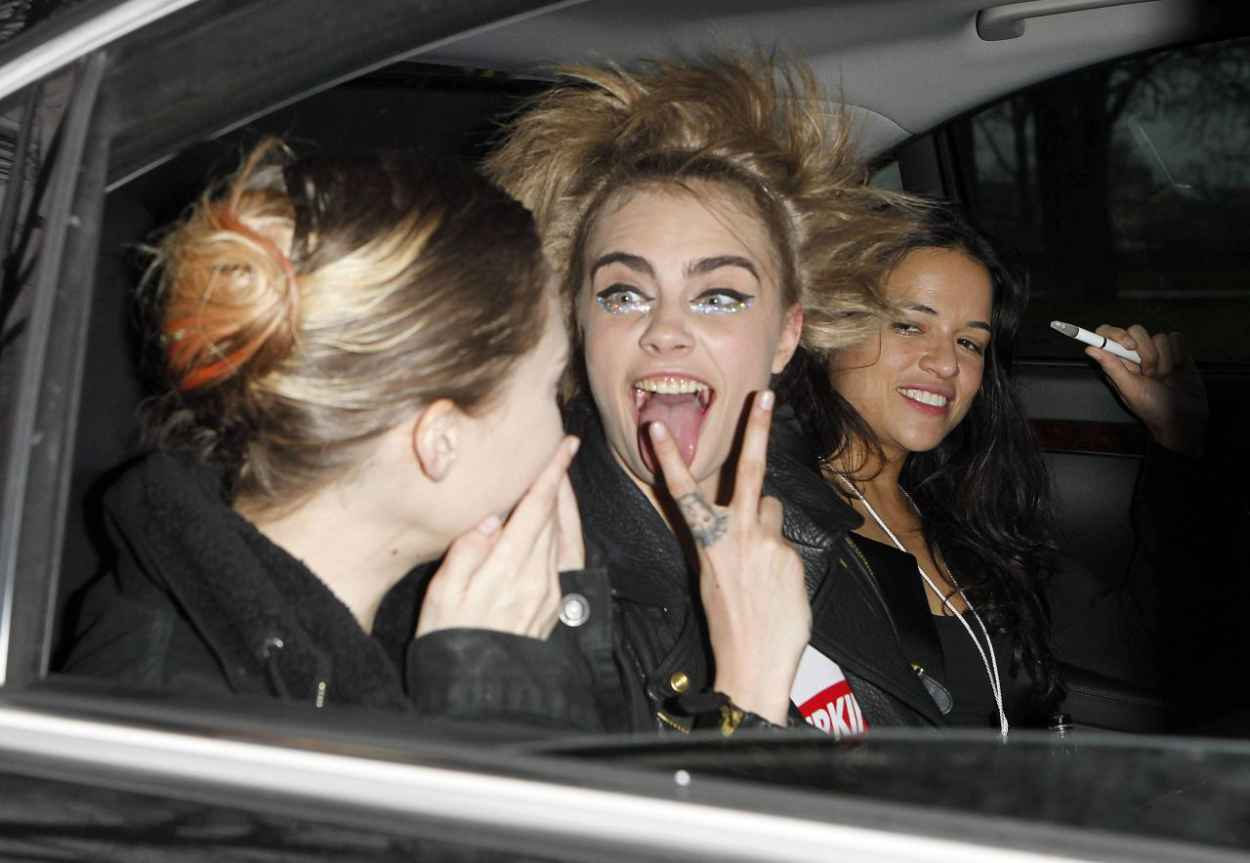 Cara Delevingne and Michelle Rodriguez Leaving Chanel Fashion Show in Paris, January 2015-1