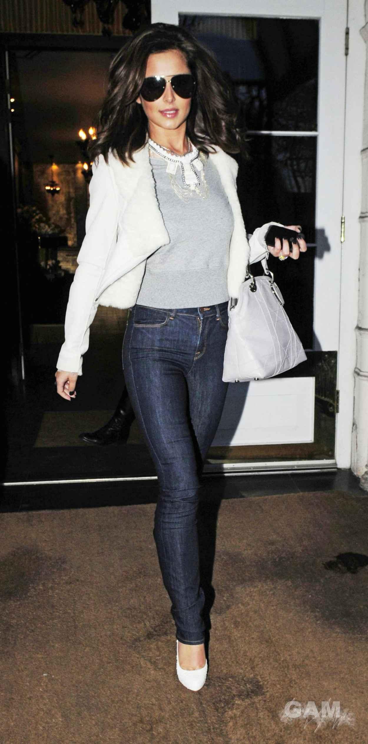 Cheryl Tweedy Cole Street Style - Leaving London Hotel-1