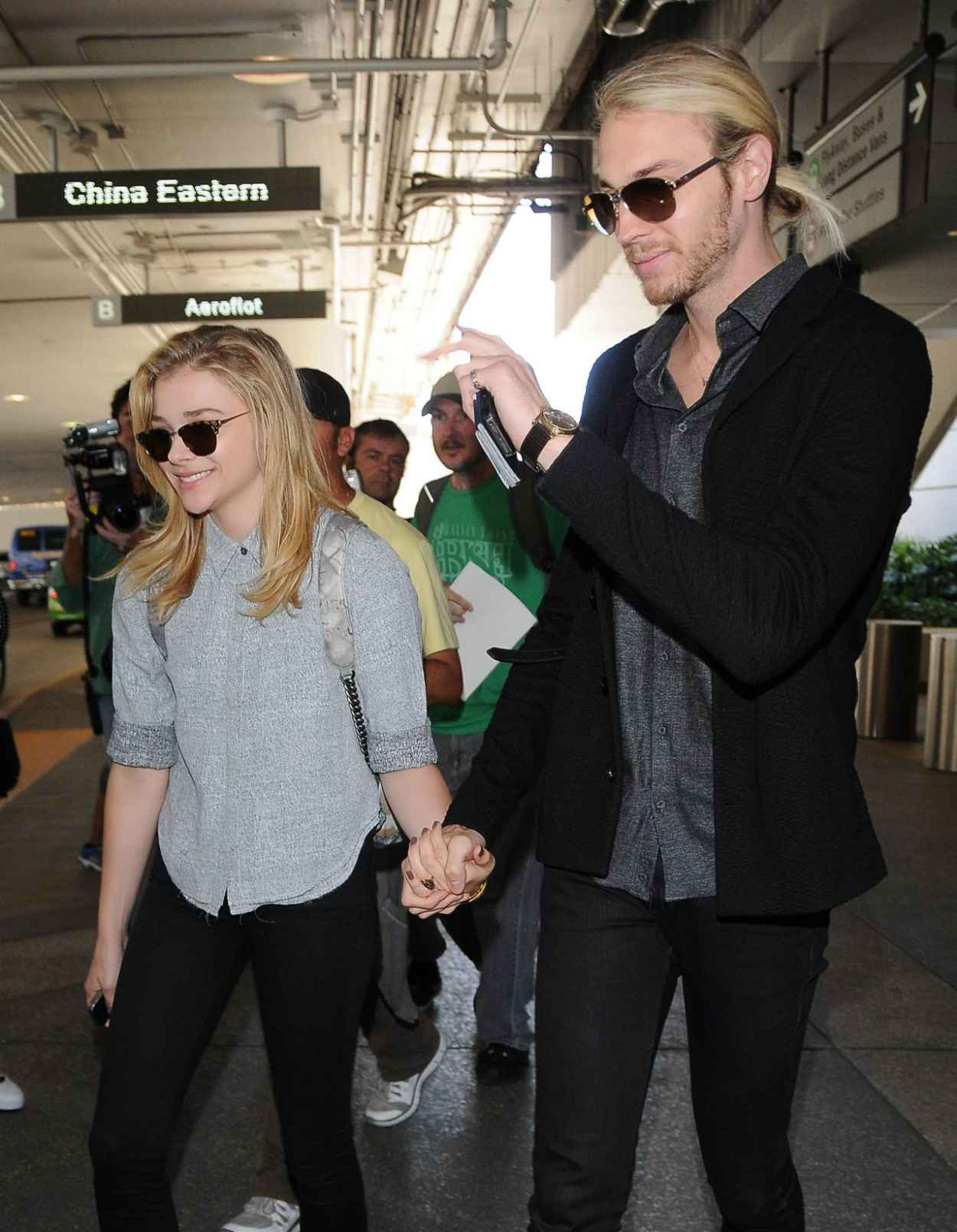 Chloe Moretz With Her Brother Trevor at LAX airport - July 2015-1
