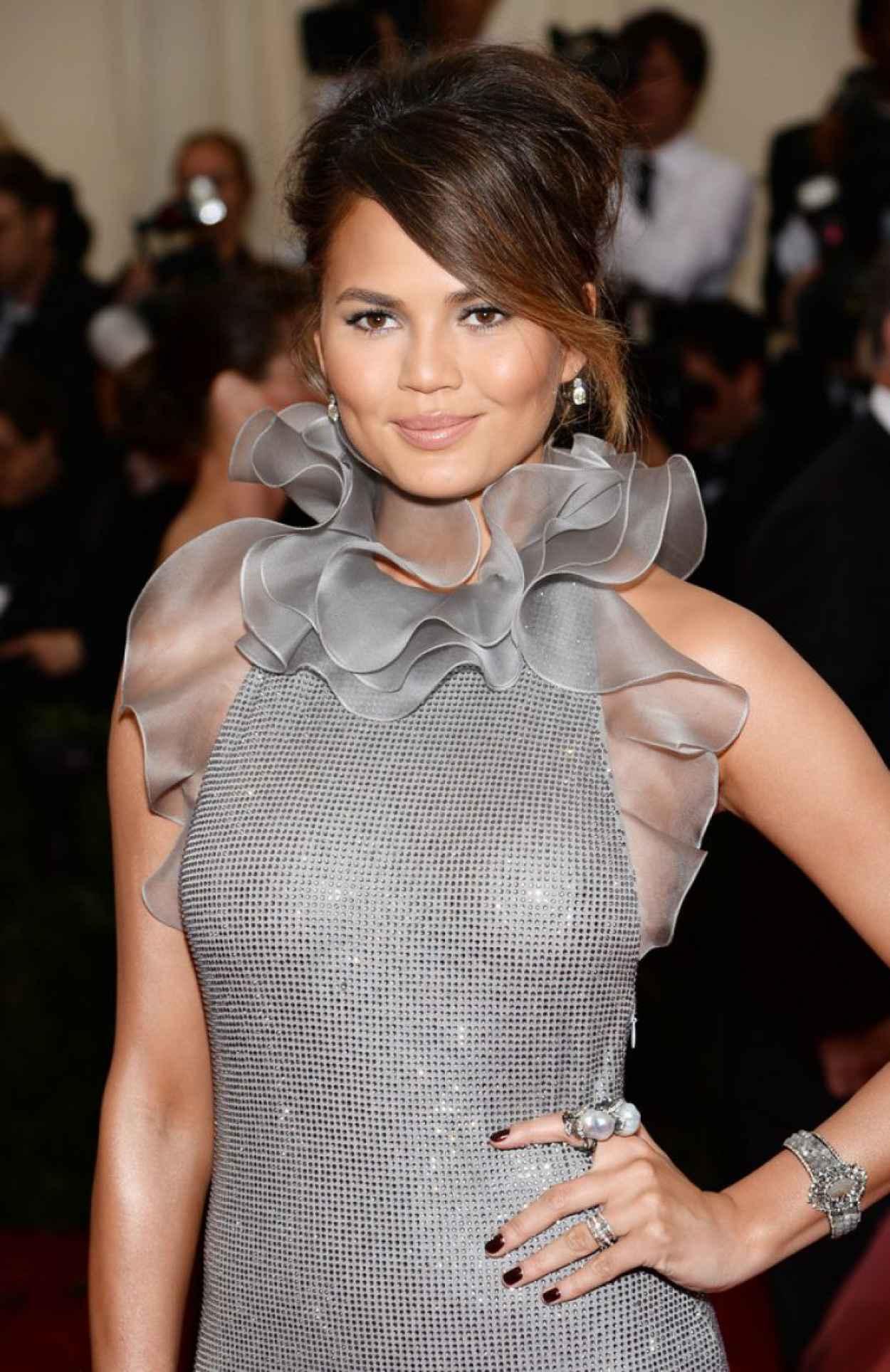 Chrissy Teigen Wearing Ralph Lauren Crystal-Covered Gown - 2015 Met Costume Institute Gala-1