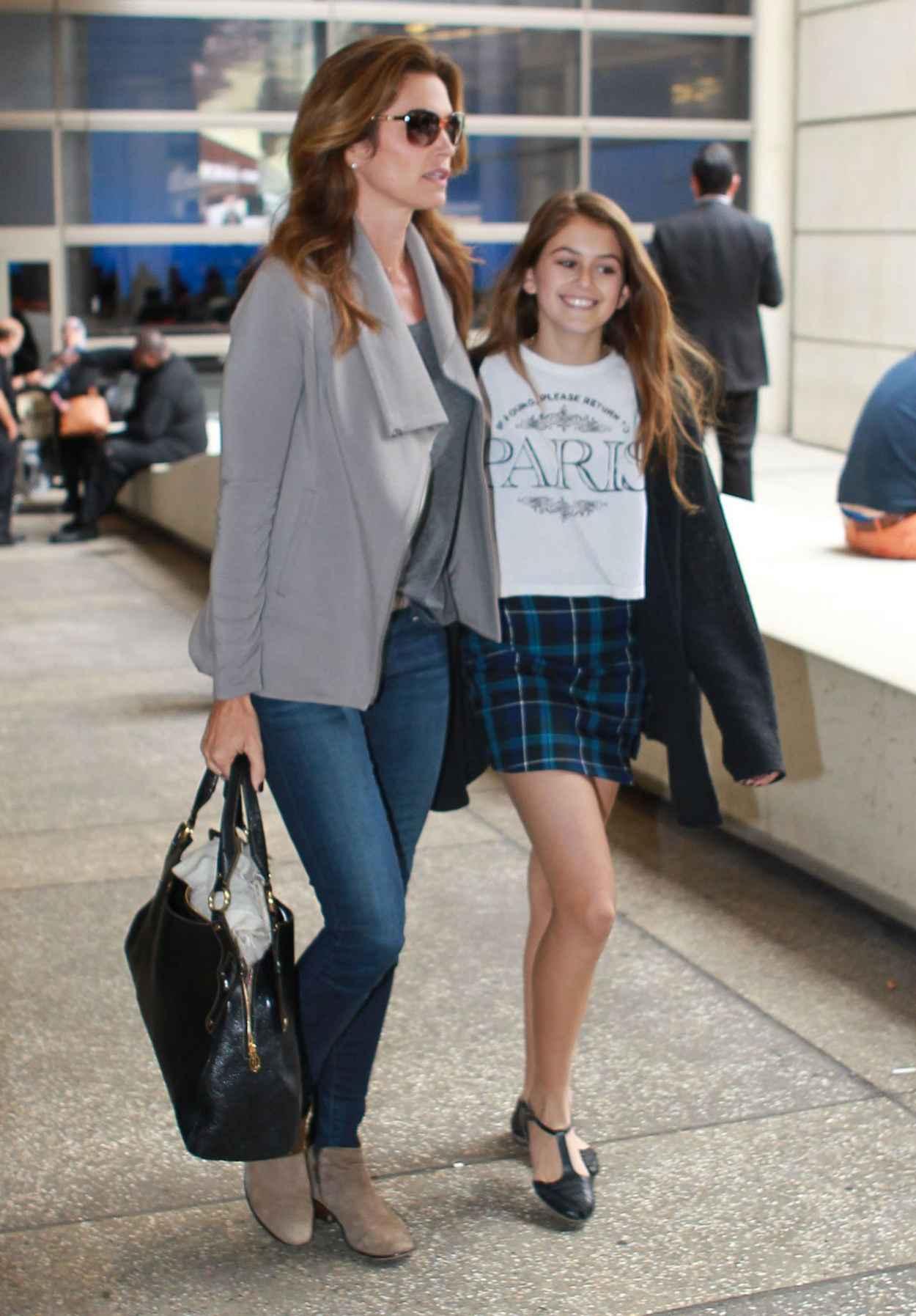 Cindy Crawford and Kaia Jordan Gerber at LAX Airport - May 2015-4