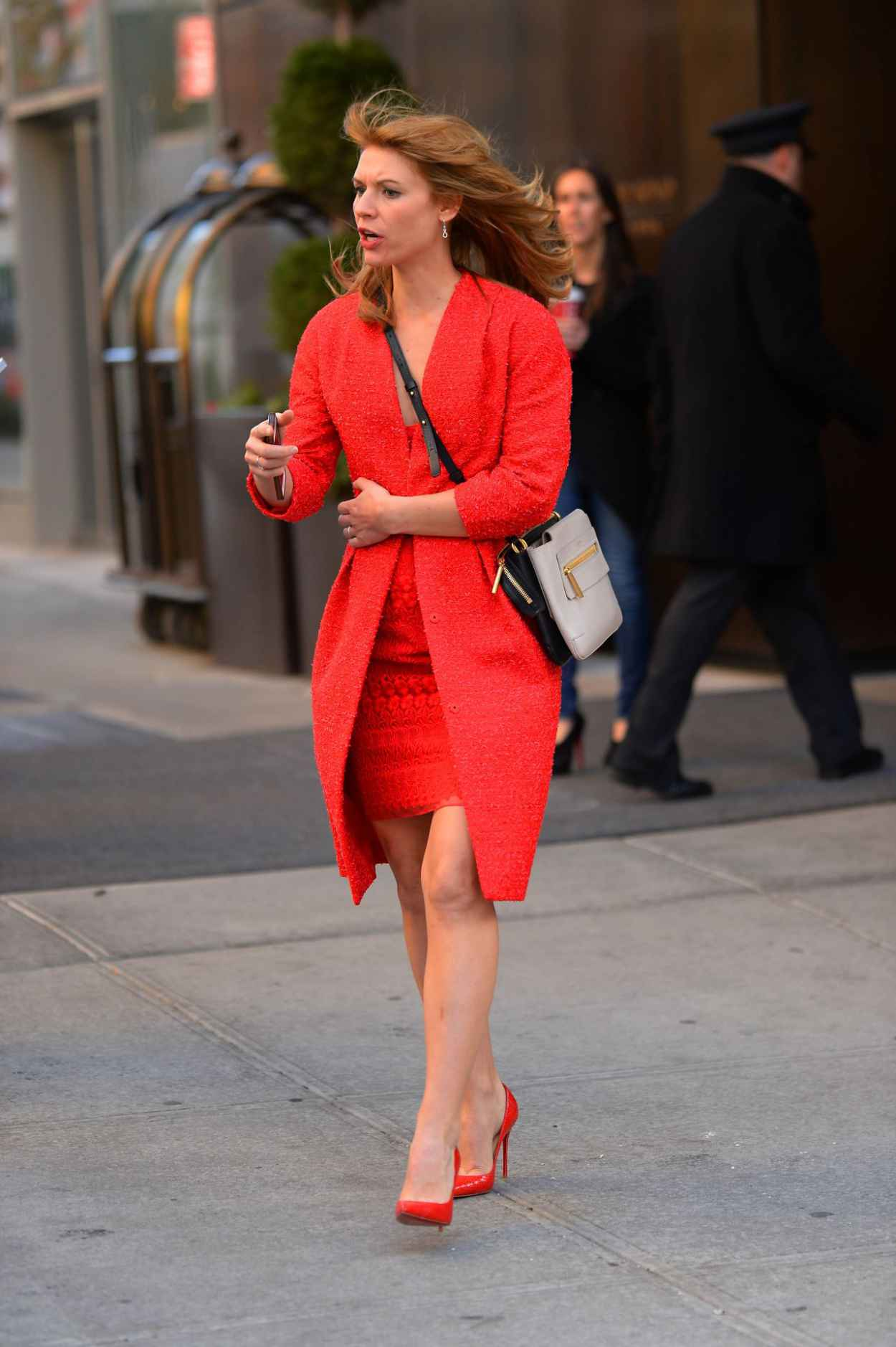 Claire Danes Leggy in Red High Heels - New York City - November 2015-1