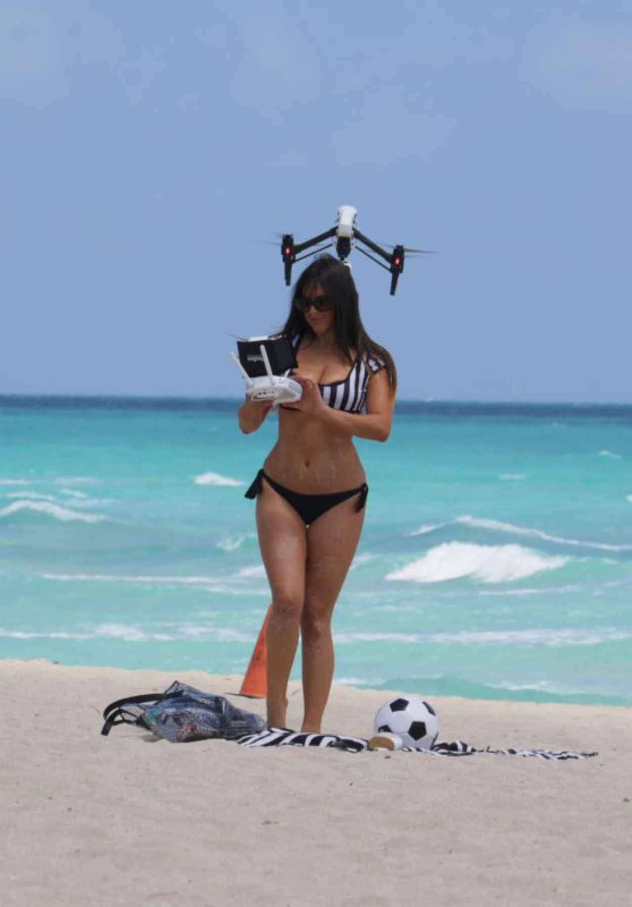 Claudia Romani Playing in a Bikini on Miami Beach, April 2015-1