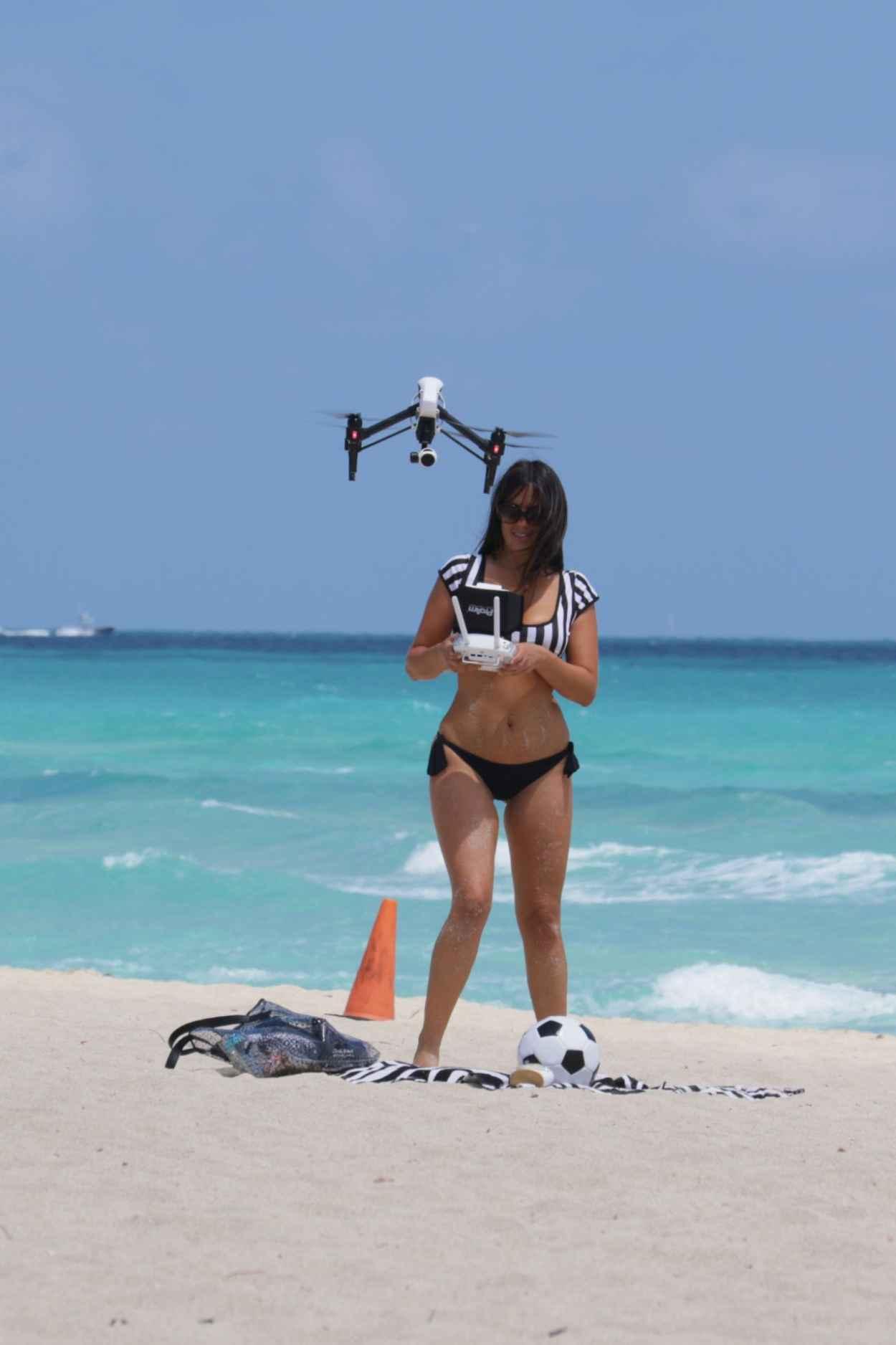 Claudia Romani Playing in a Bikini on Miami Beach, April 2015-2