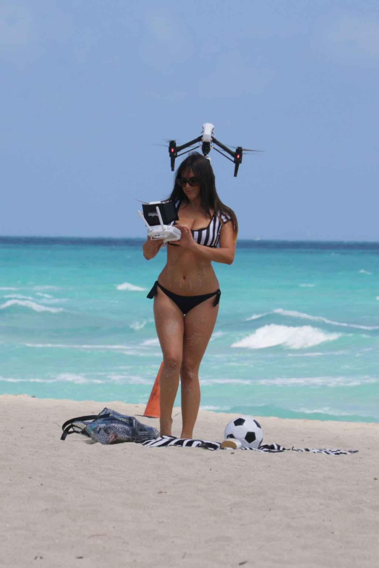 Claudia Romani Playing in a Bikini on Miami Beach, April 2015-3