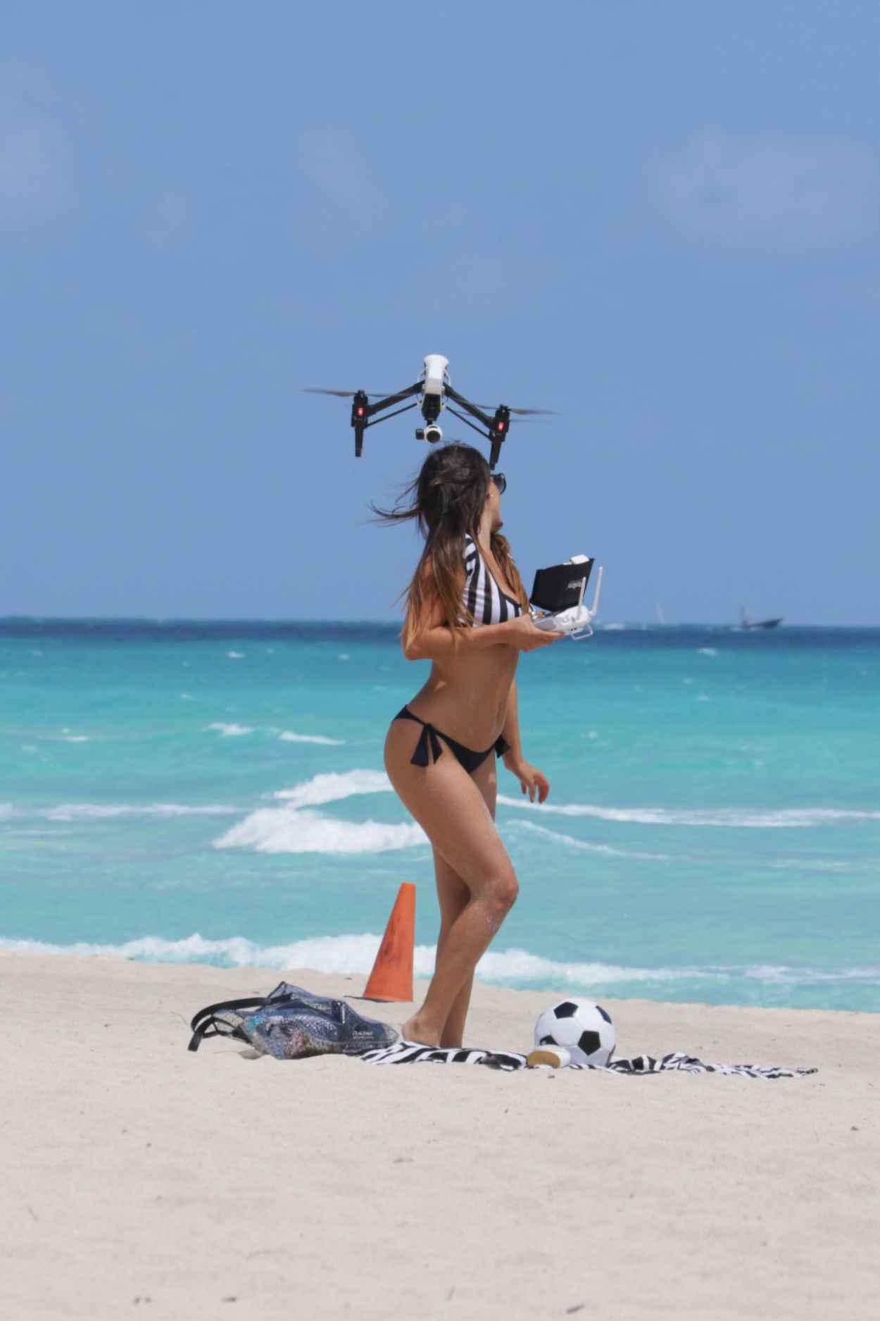 Claudia Romani Playing in a Bikini on Miami Beach, April 2015-4