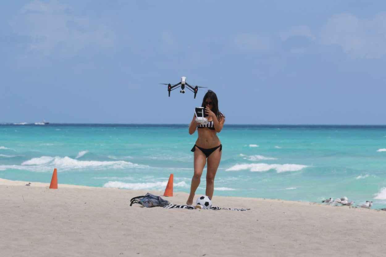Claudia Romani Playing in a Bikini on Miami Beach, April 2015-5