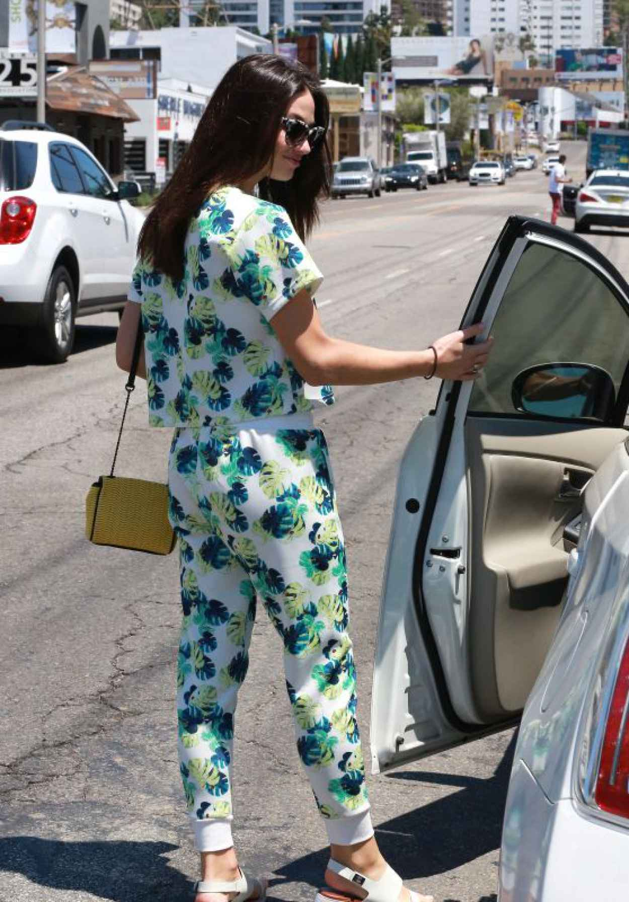 Crystal Reed - Leaving a Hair Salon in Beverly Hills, July 2015-1