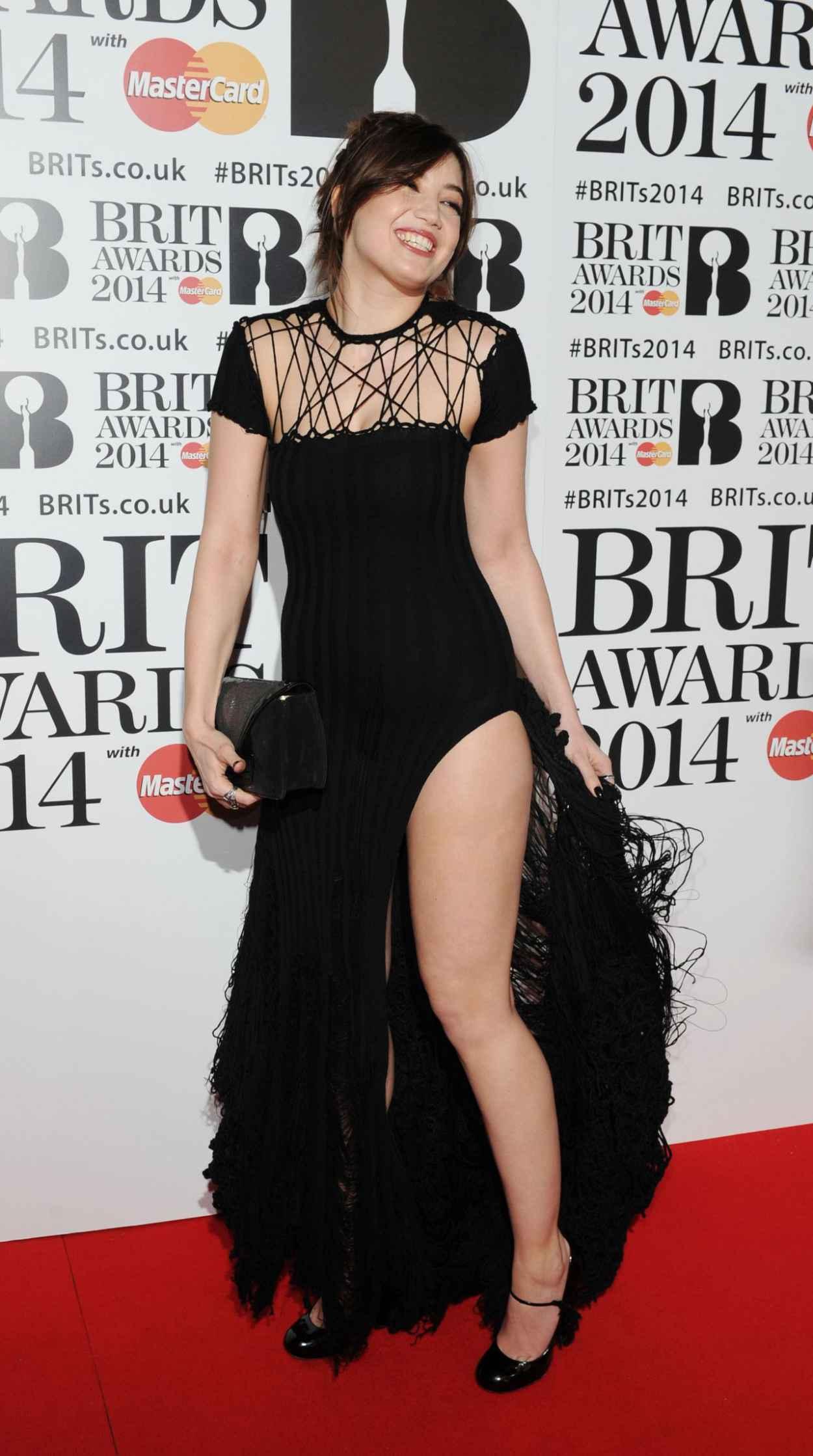 Daisy Lowe Wearing Sibling Dress at 2015 Brit Awards in London-1
