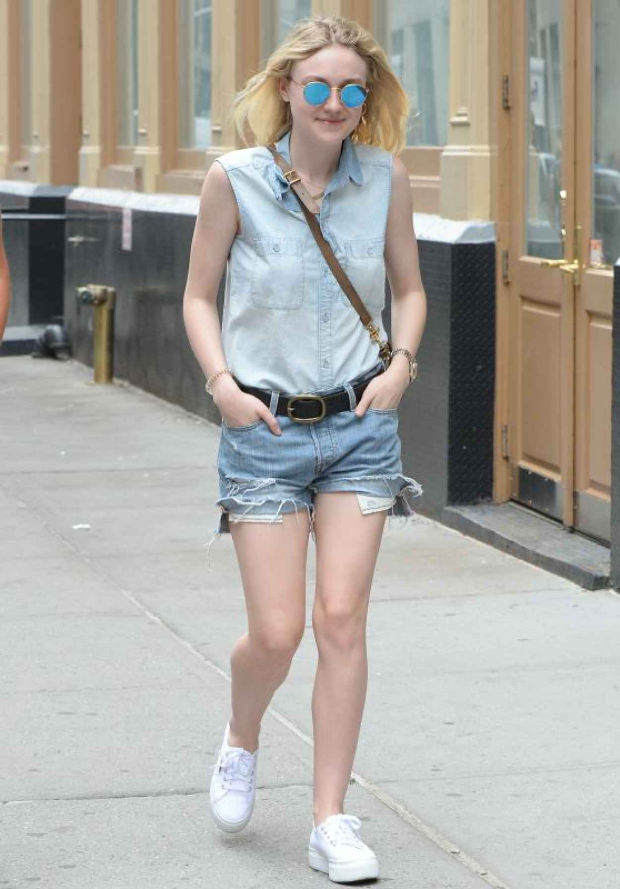 Dakota Fanning Leggy in Jeans Shorts - Soho NYC, June 2015-1