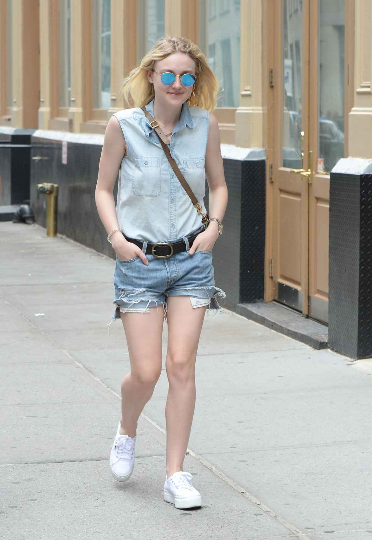 Dakota Fanning Leggy in Jeans Shorts - Soho NYC, June 2015-2