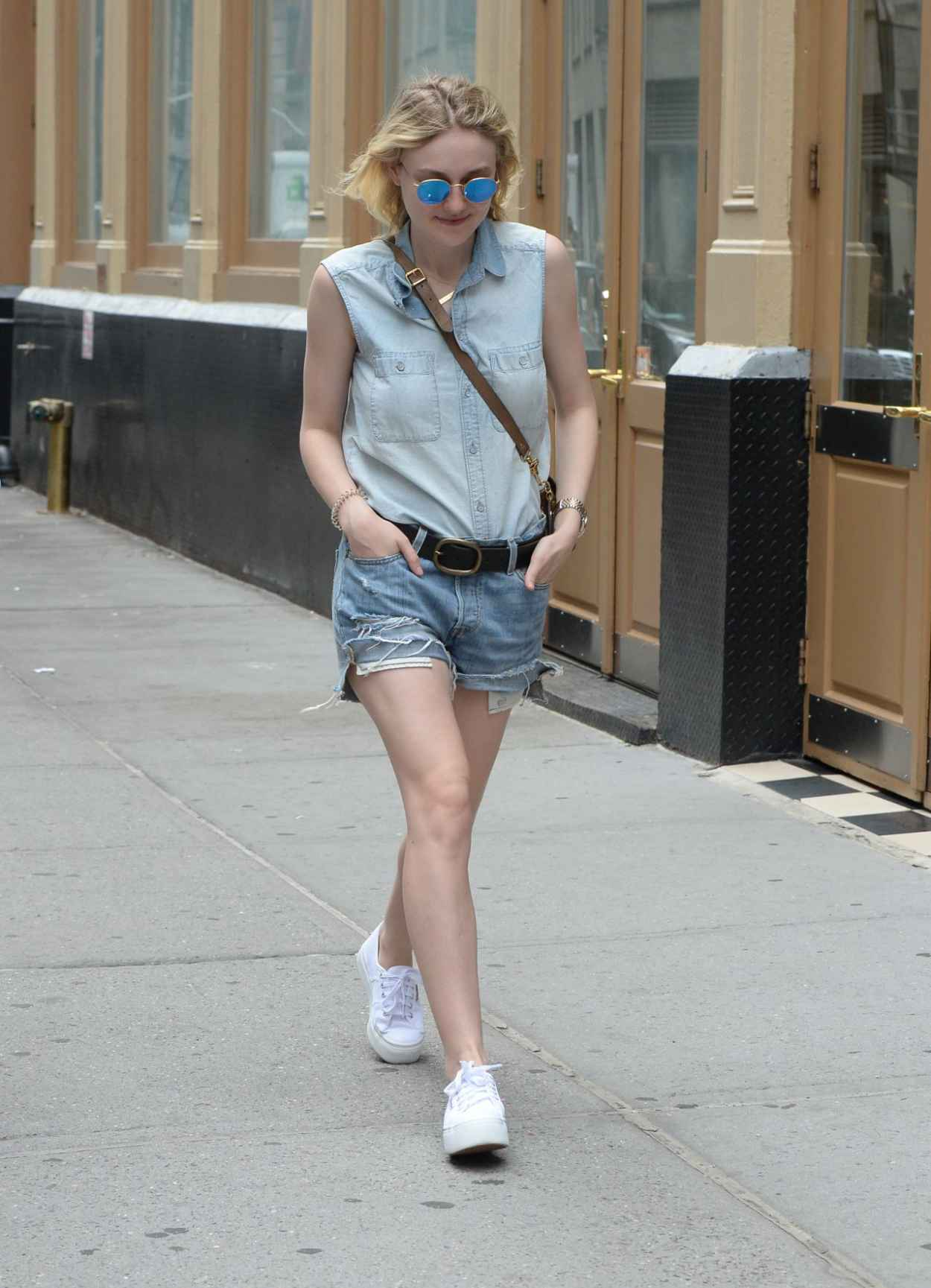 Dakota Fanning Leggy in Jeans Shorts - Soho NYC, June 2015-3
