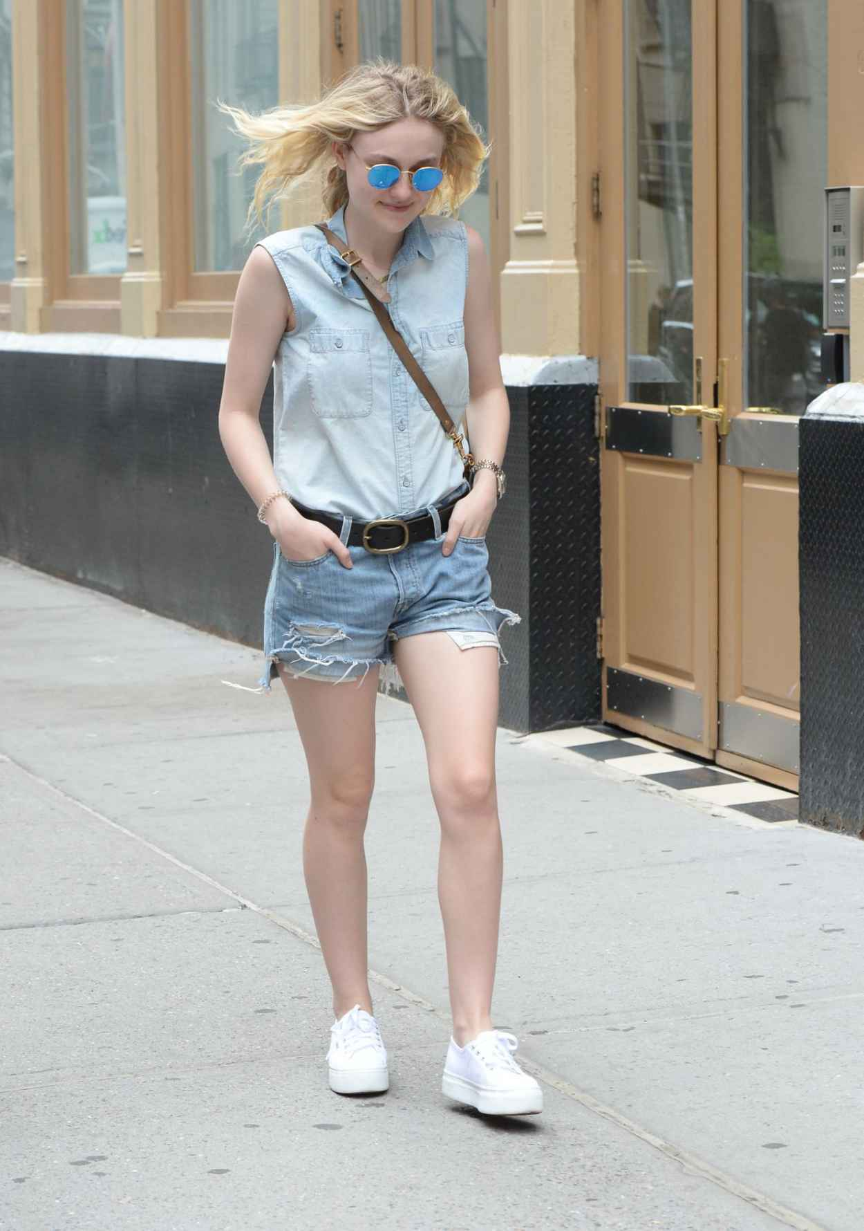 Dakota Fanning Leggy in Jeans Shorts - Soho NYC, June 2015-4