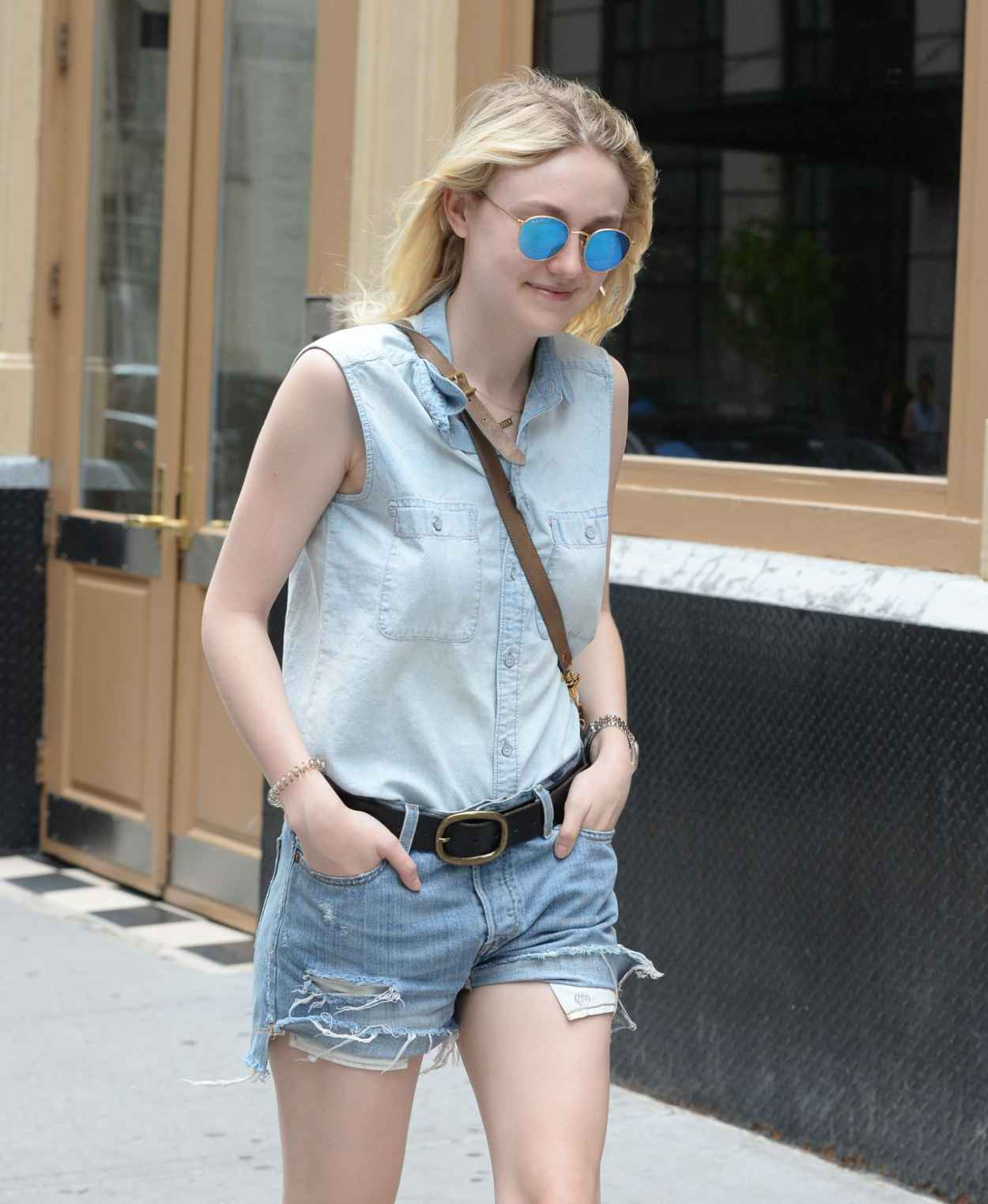 Dakota Fanning Leggy in Jeans Shorts - Soho NYC, June 2015-5