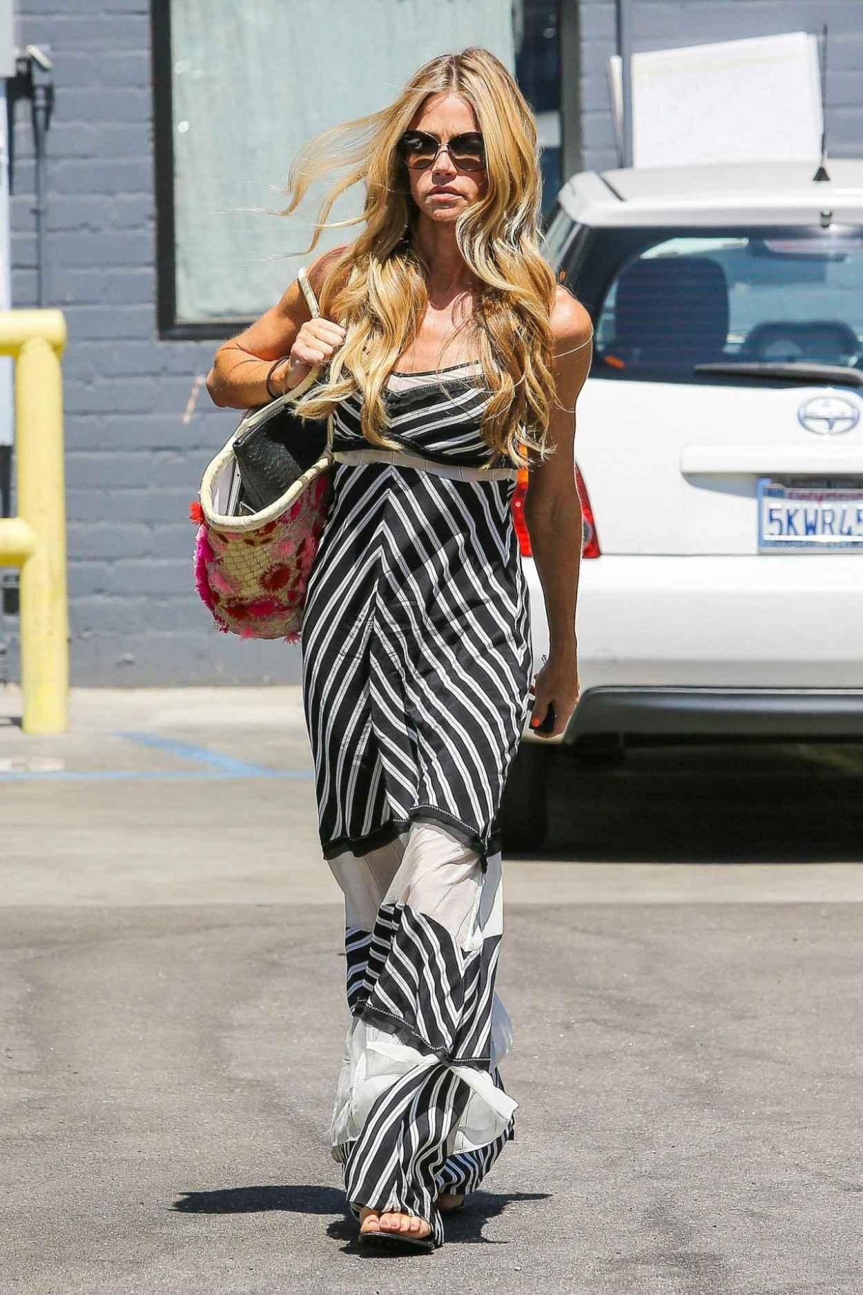 Denise Richards in Summer Long Dress - Leaving Cristophe Salon in Beverly Hills - August 2015-1