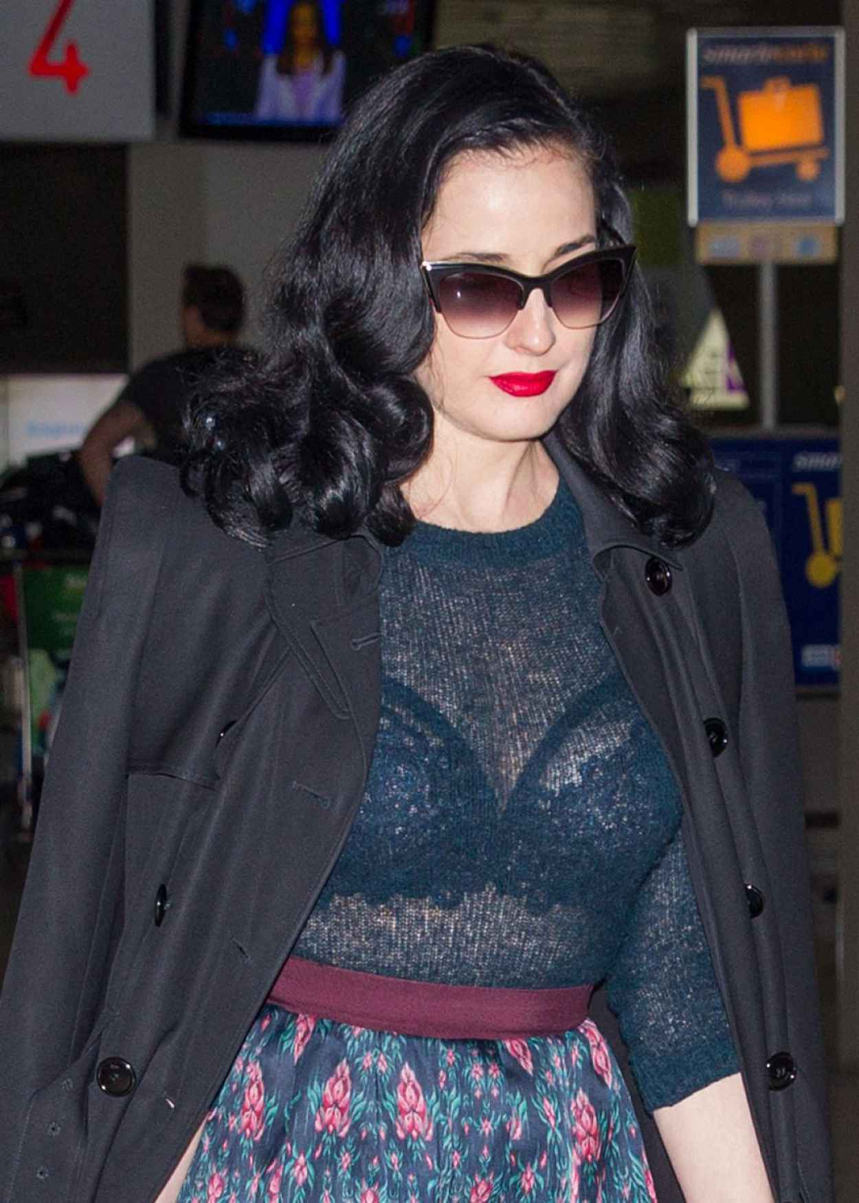 Dita Von Teese - Wearing Blue Top, Blue Skirt and a Large Black Coat - Melbourne Airport-5