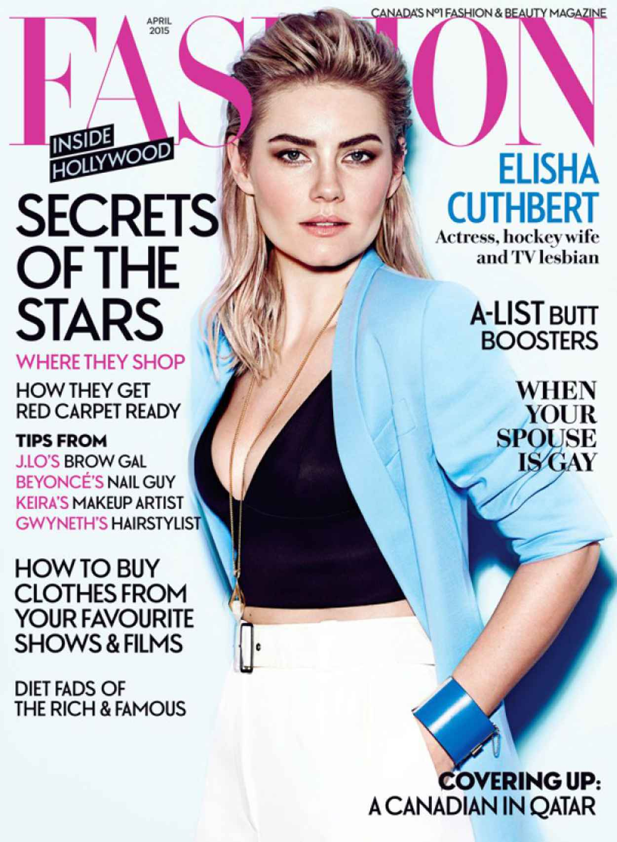 Elisha Cuthbert - Fashion Magazine April 2015 Cover and Photo-2