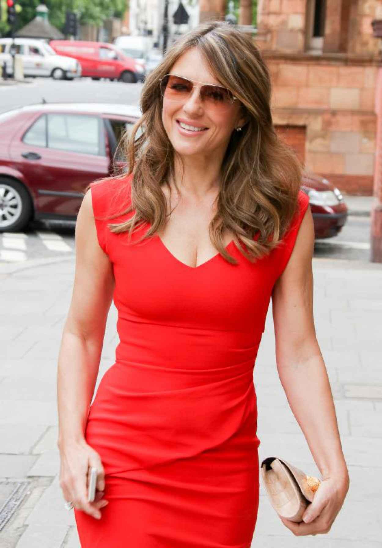 Elizabeth Hurley in Red Dress - Out in London, June 2015-1