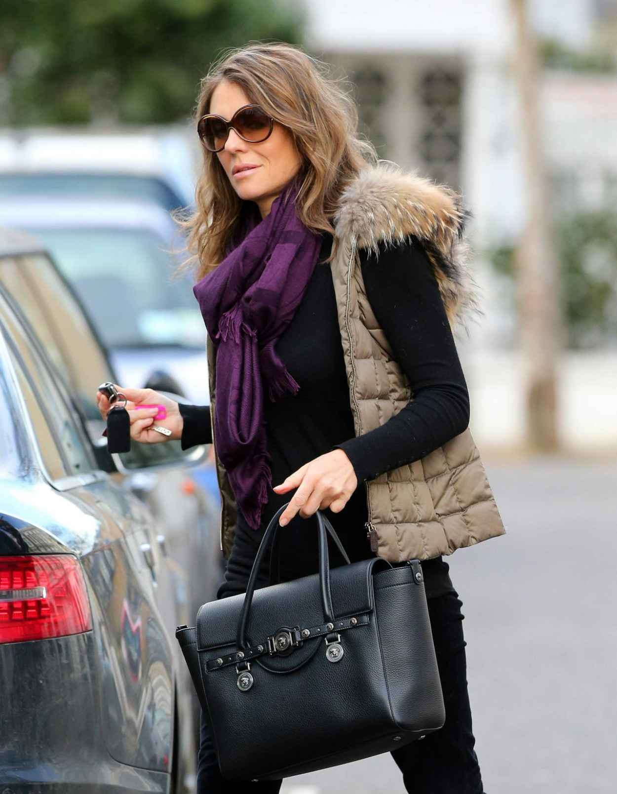 Elizabeth Hurley Street Style - London, February 2015-1