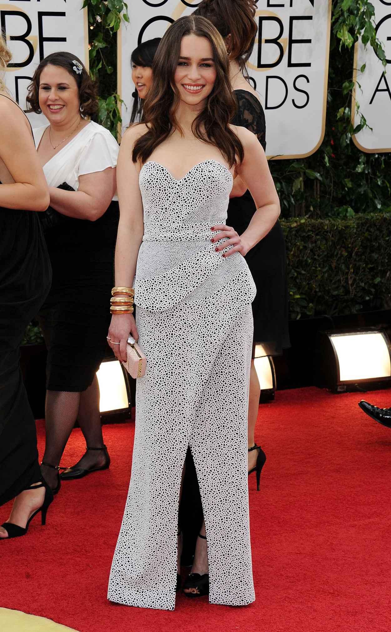 Emilia Clarke at 71st Annual Golden Globe Awards Red Carpet (2014)-1